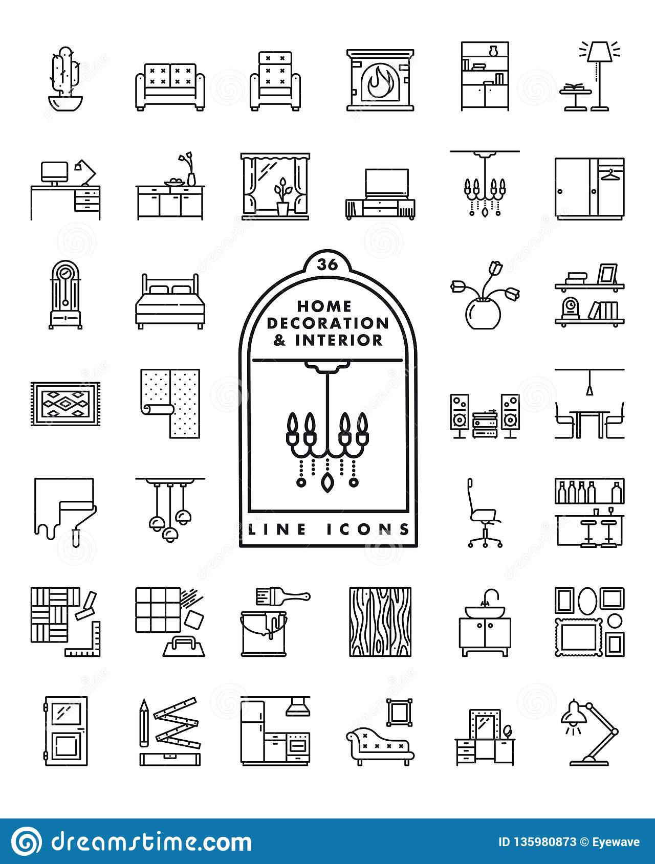 Home decoration and interior line icons vector set