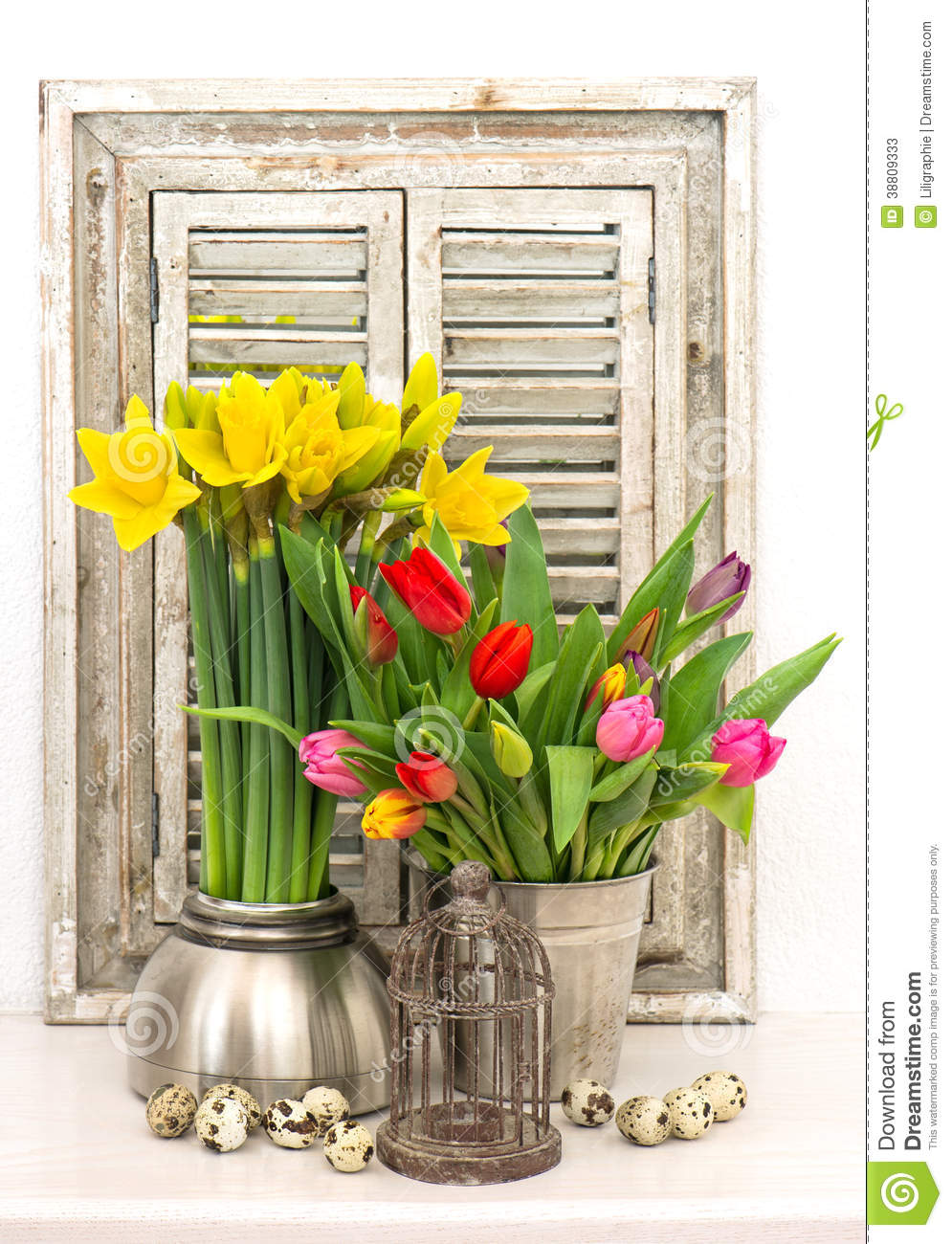 Home Decoration With Spring Flowers Easter Eggs Stock