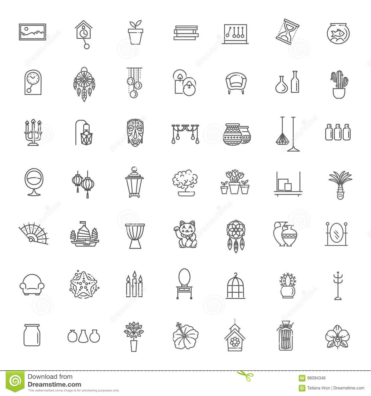 Home Decoration Vector Thin Line Icons Stock Vector Illustration