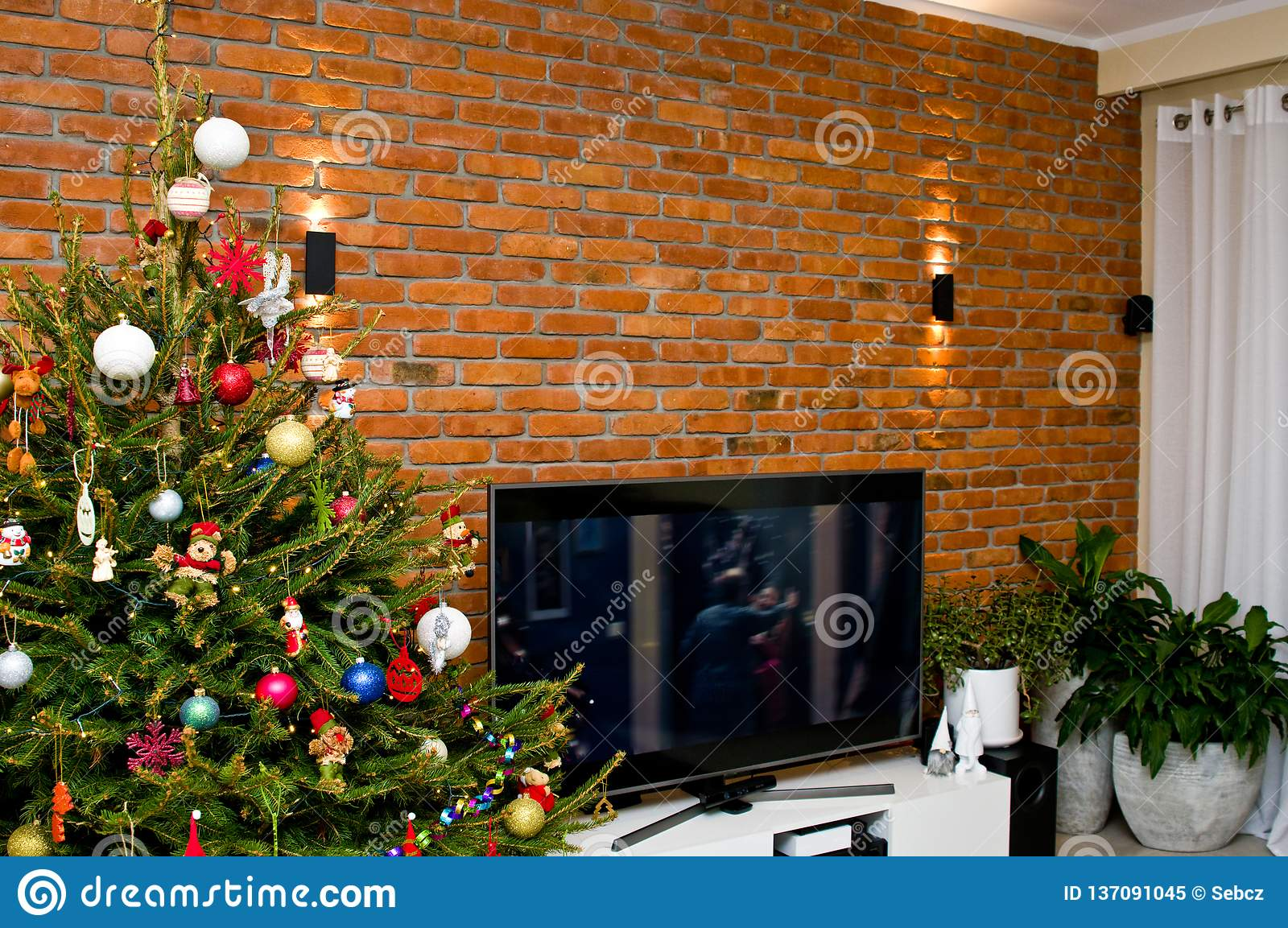 Home Decorations For Christmas, Television Wall Stock Image