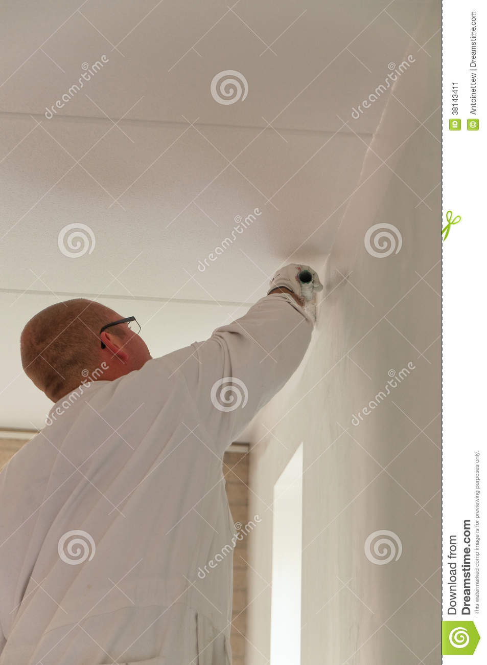 Home Decorator Painting A Wall Stock Image Image 38143411