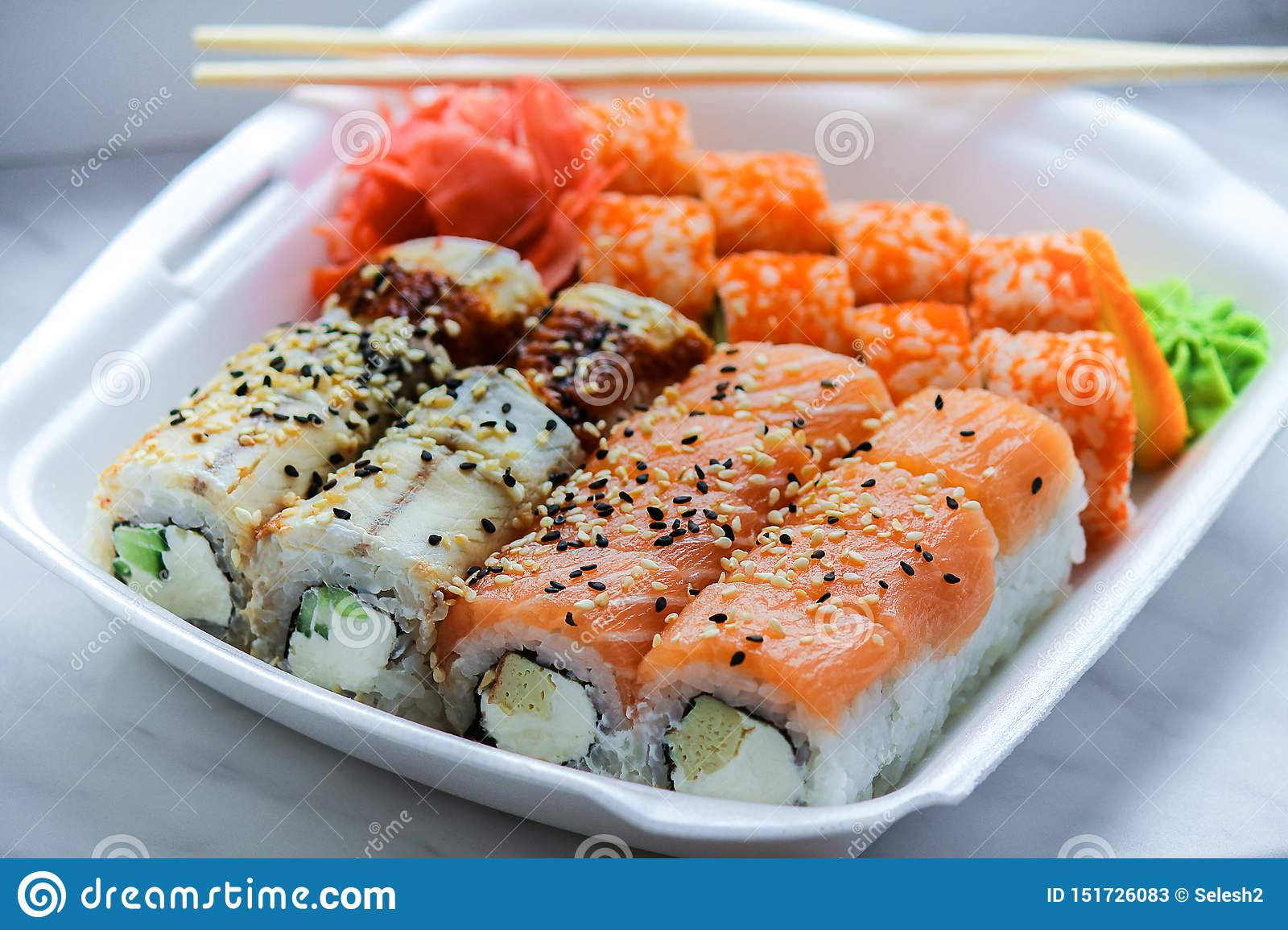 Home Delivery Of Fast Food Sushi With Fish And Rice Stock Image Image Of Delivery Dinner 151726083