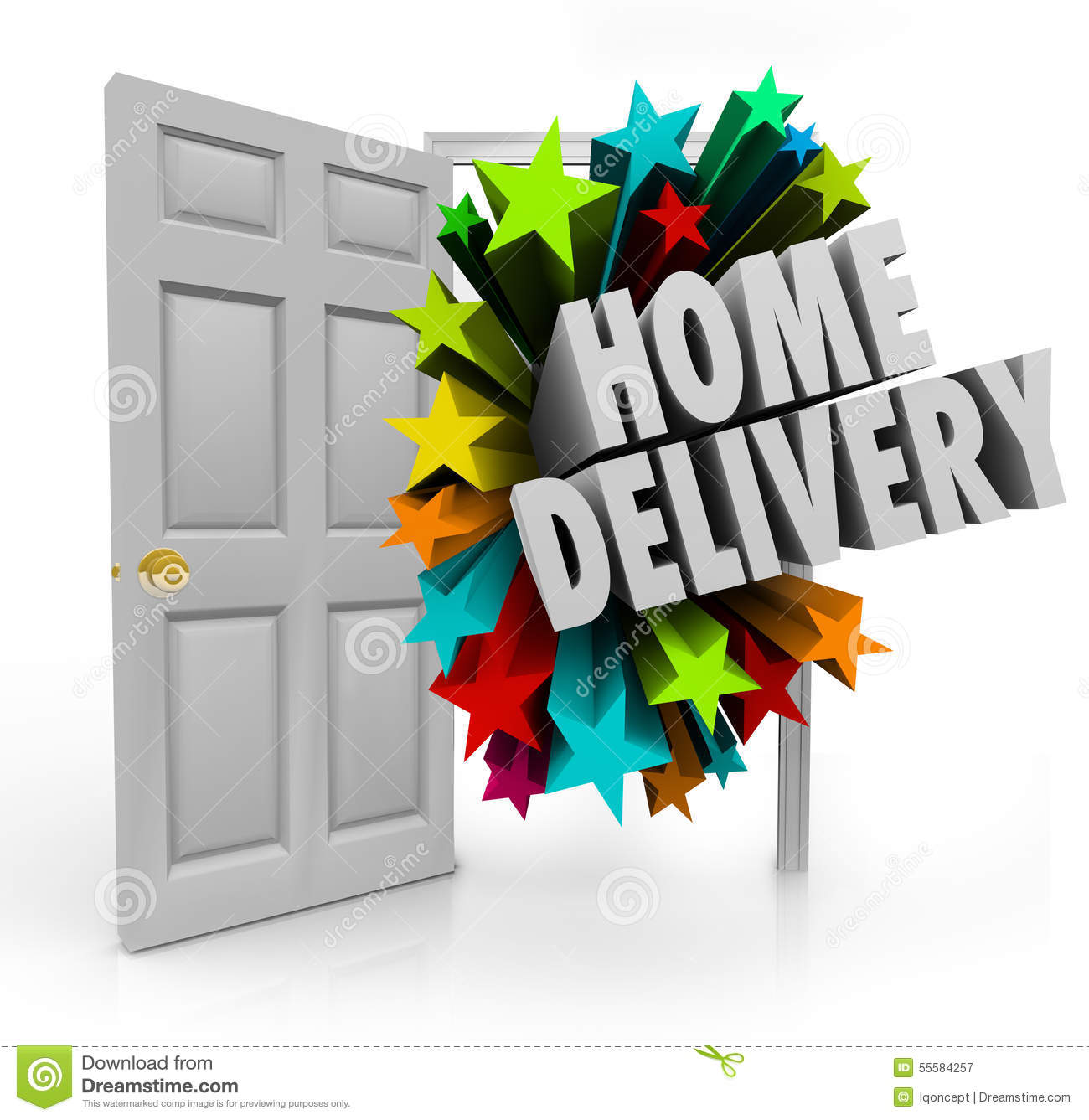 Home Delivery Open Door Package Shipment Arrival Special Service