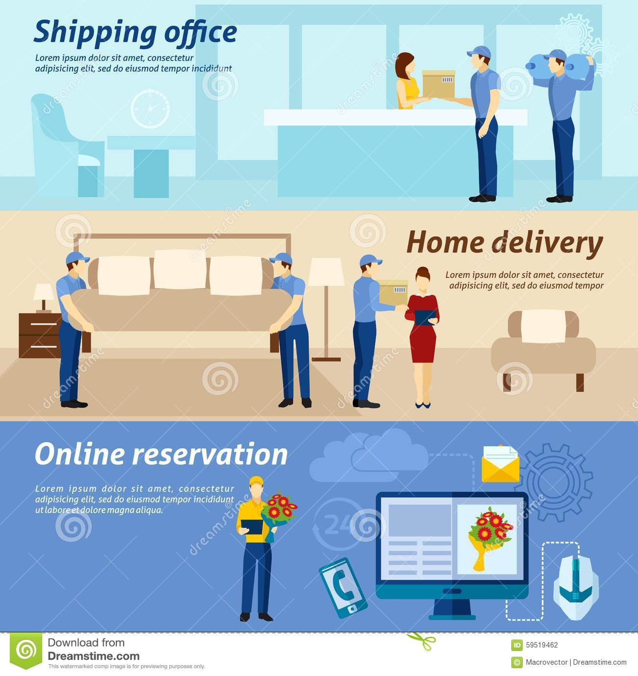Home Delivery Service Flat Banners Set Stock Vector ...