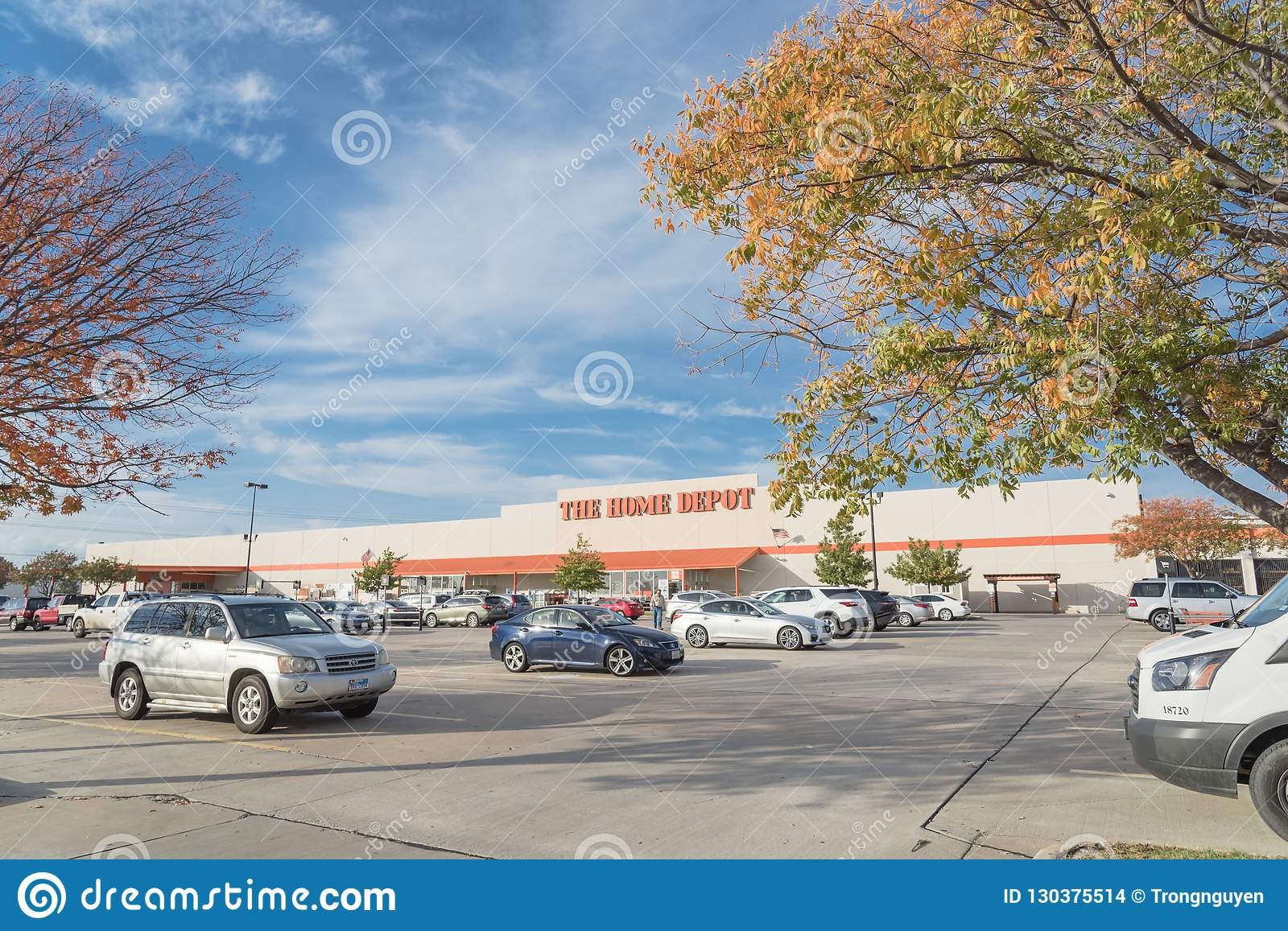Home Depot Entrance From Parking Lots With Colorful Autumn Leave