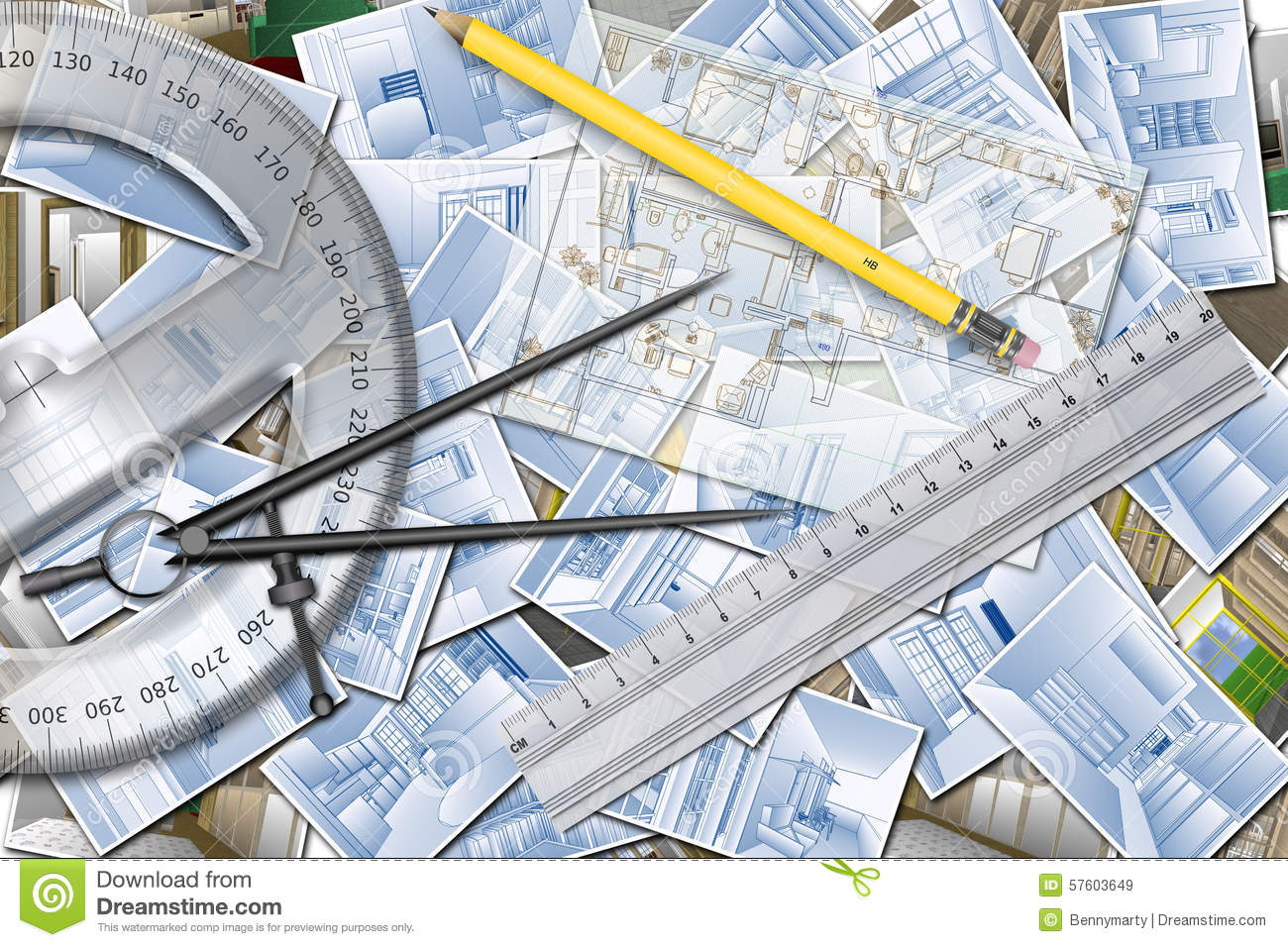 Home Architecture Tools Of Home Design Planning Stock Illustration Image 57603649