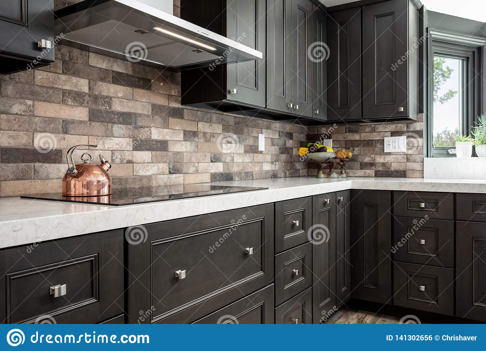 Home Design Remodel Dark Kitchen Cabinets With Stone Back