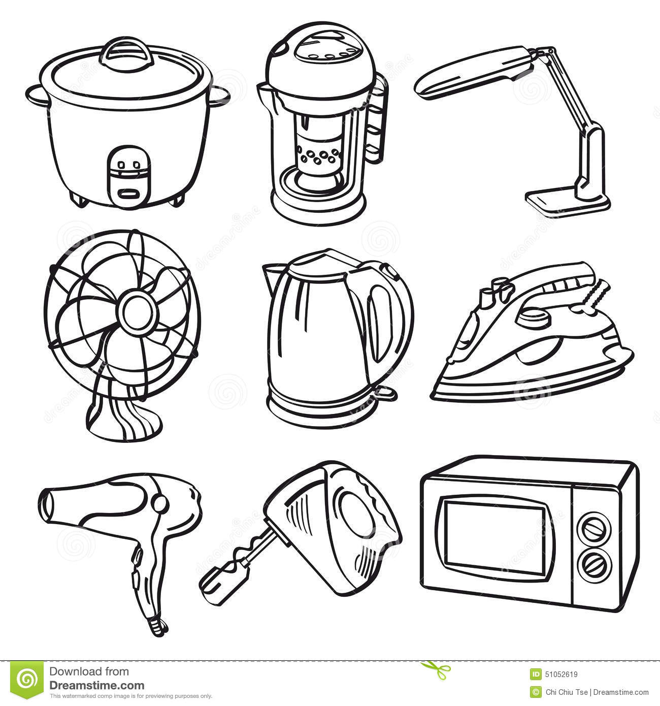home electric appliances stock illustration