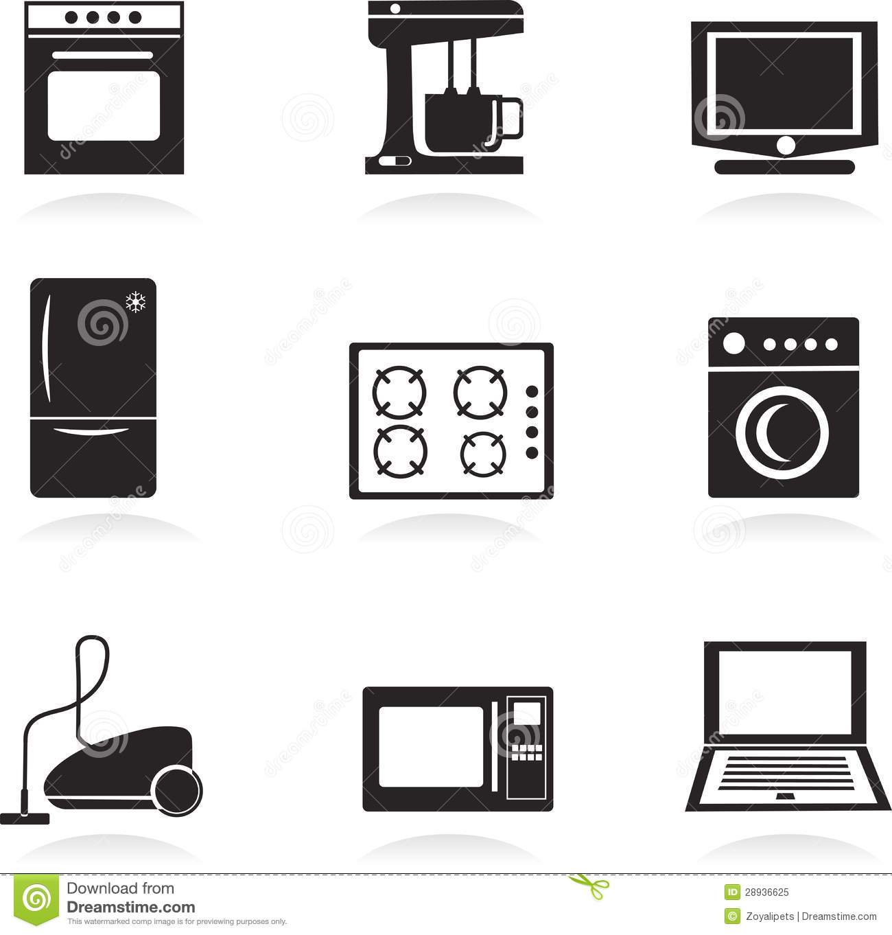 home electrical appliances set royalty free stock photo