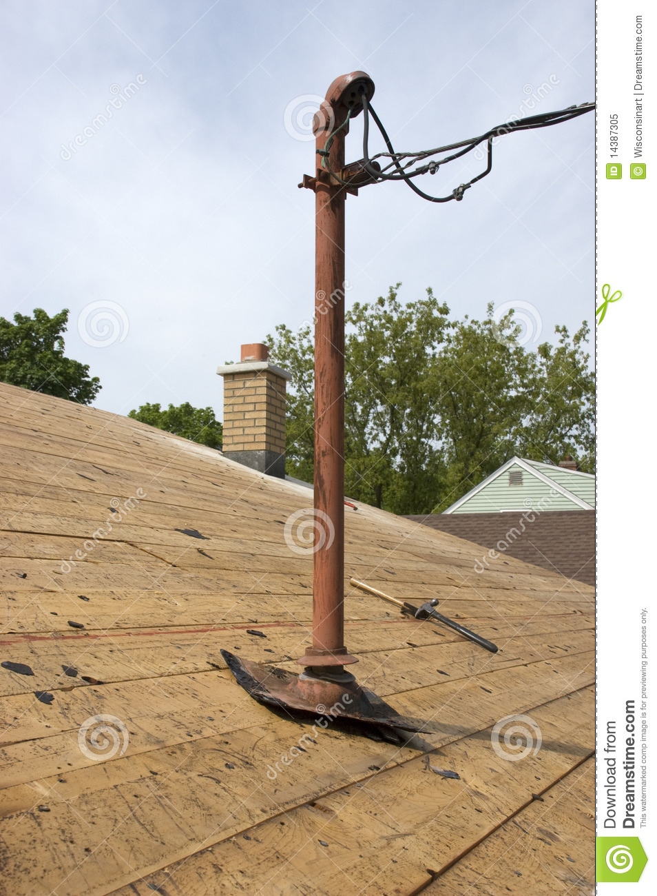 Home Electrical Entry Pole Electricity Wires House Royalty
