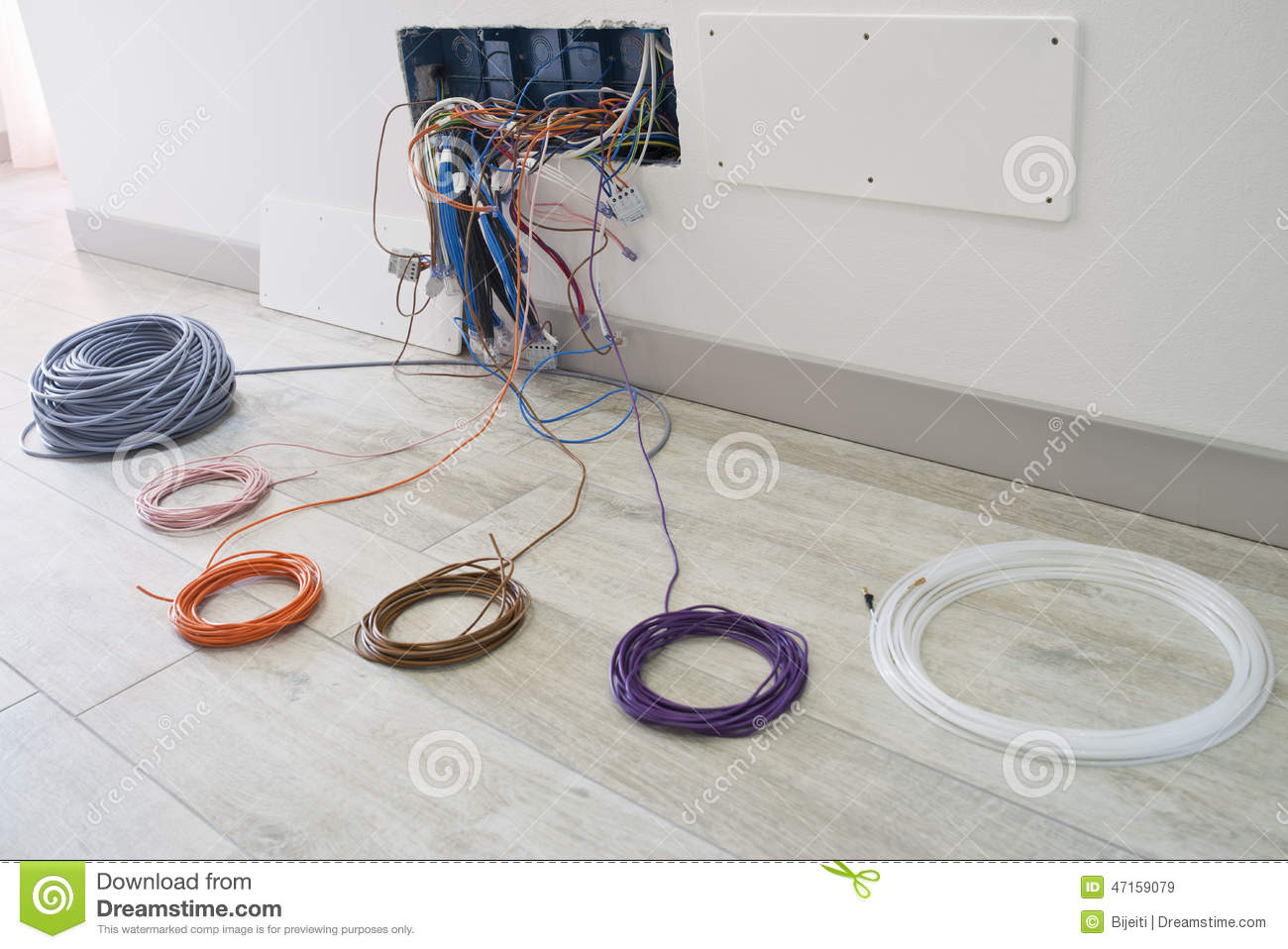 Home electrical wiring stock image. Image of wire ... on