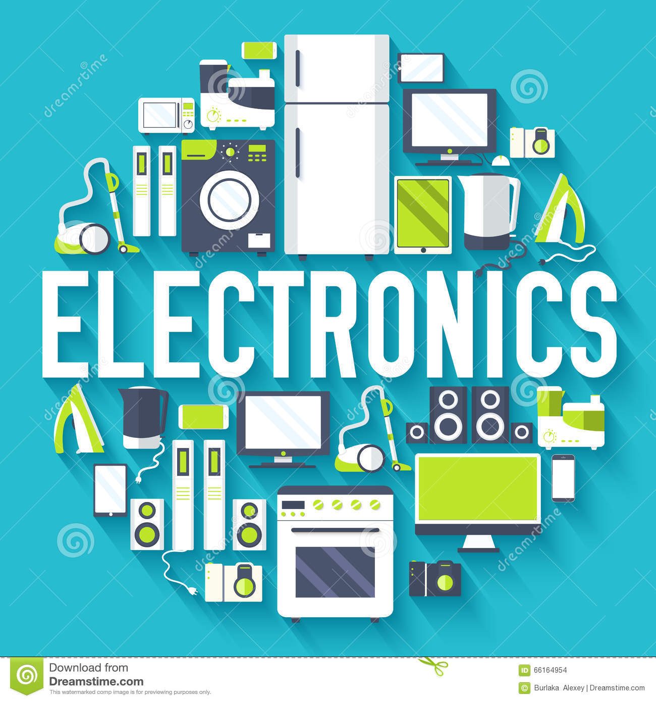 Home electronics appliances circle infographics template for Household appliances design