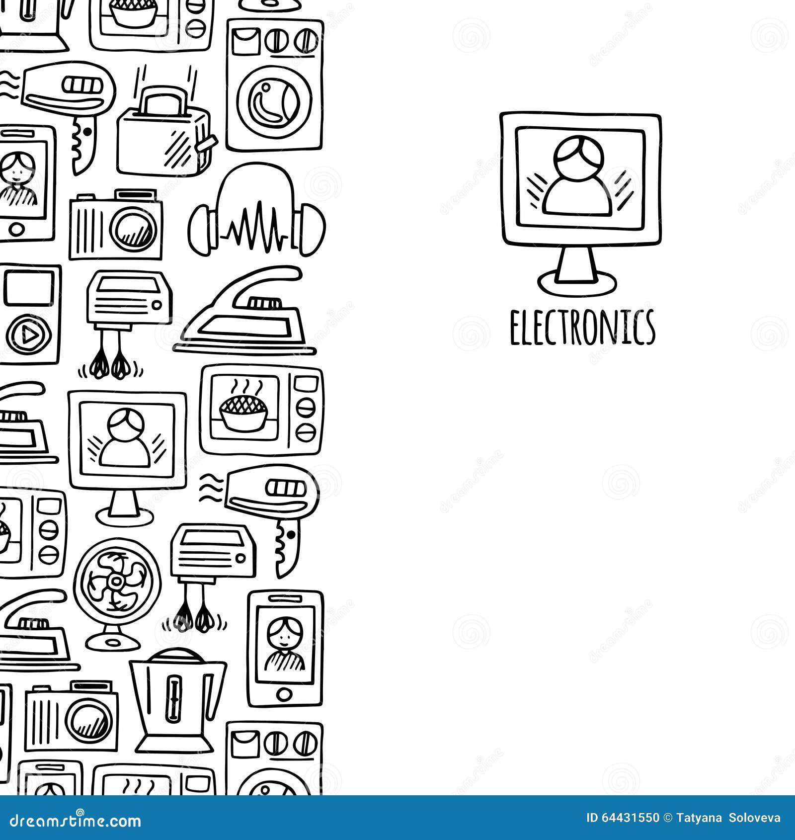 home electronics sketch vector vertical banner  stock vector