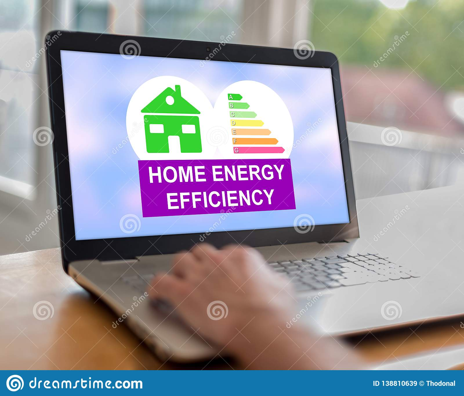 Home energy efficiency concept on a laptop