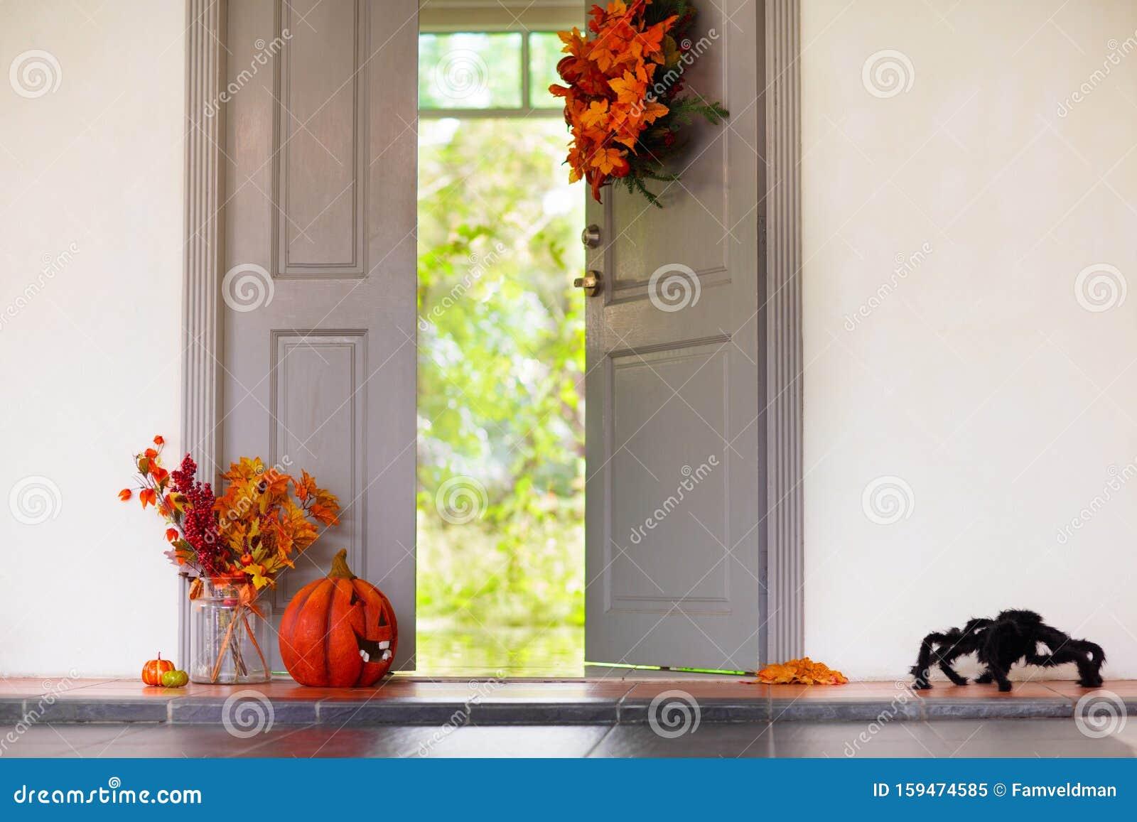 Home Entrance Halloween Decoration Front Door Stock