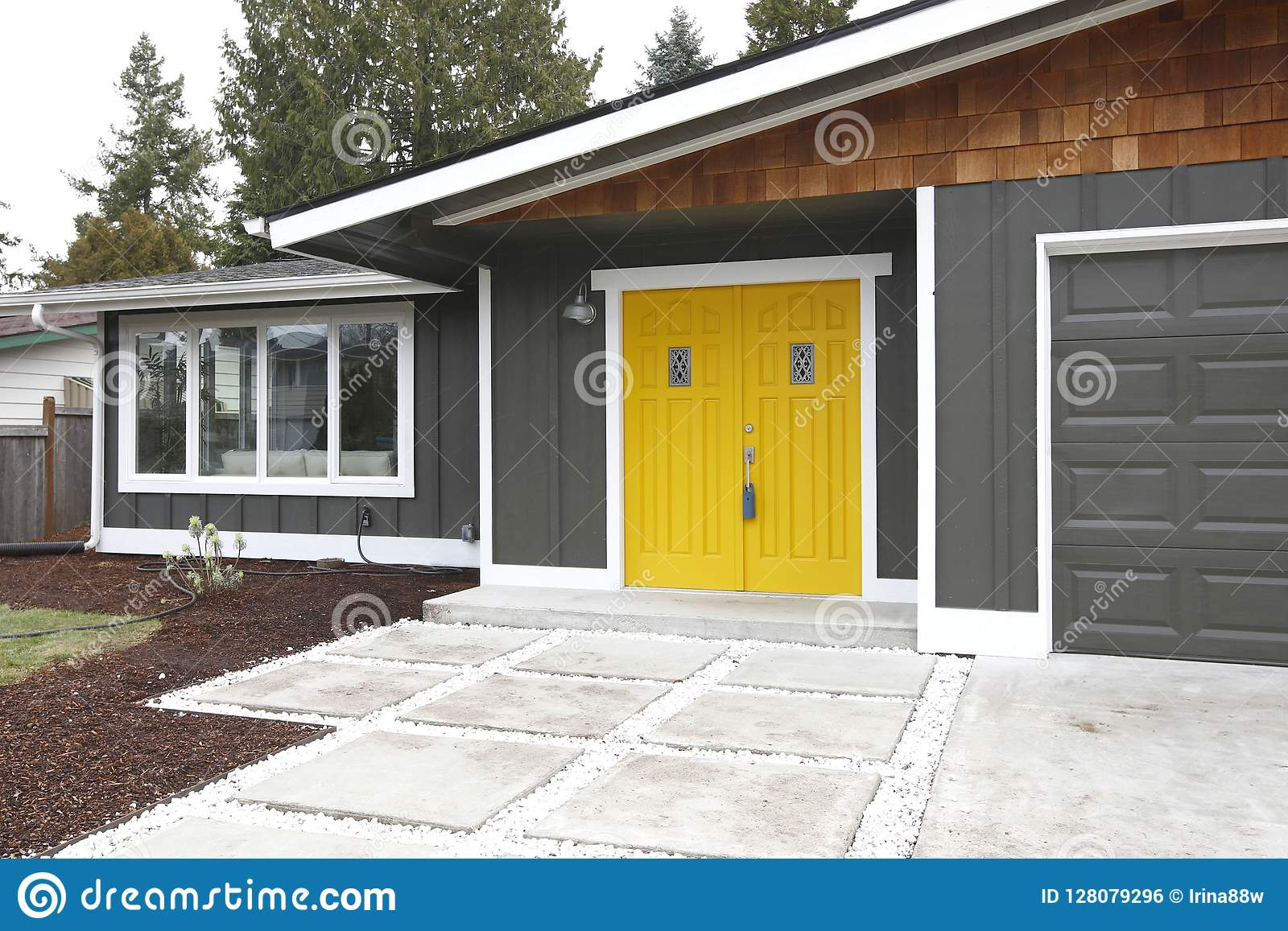 Home Entrance With Yellow Front Doors Stock Photo Image Of Modern Large 128079296