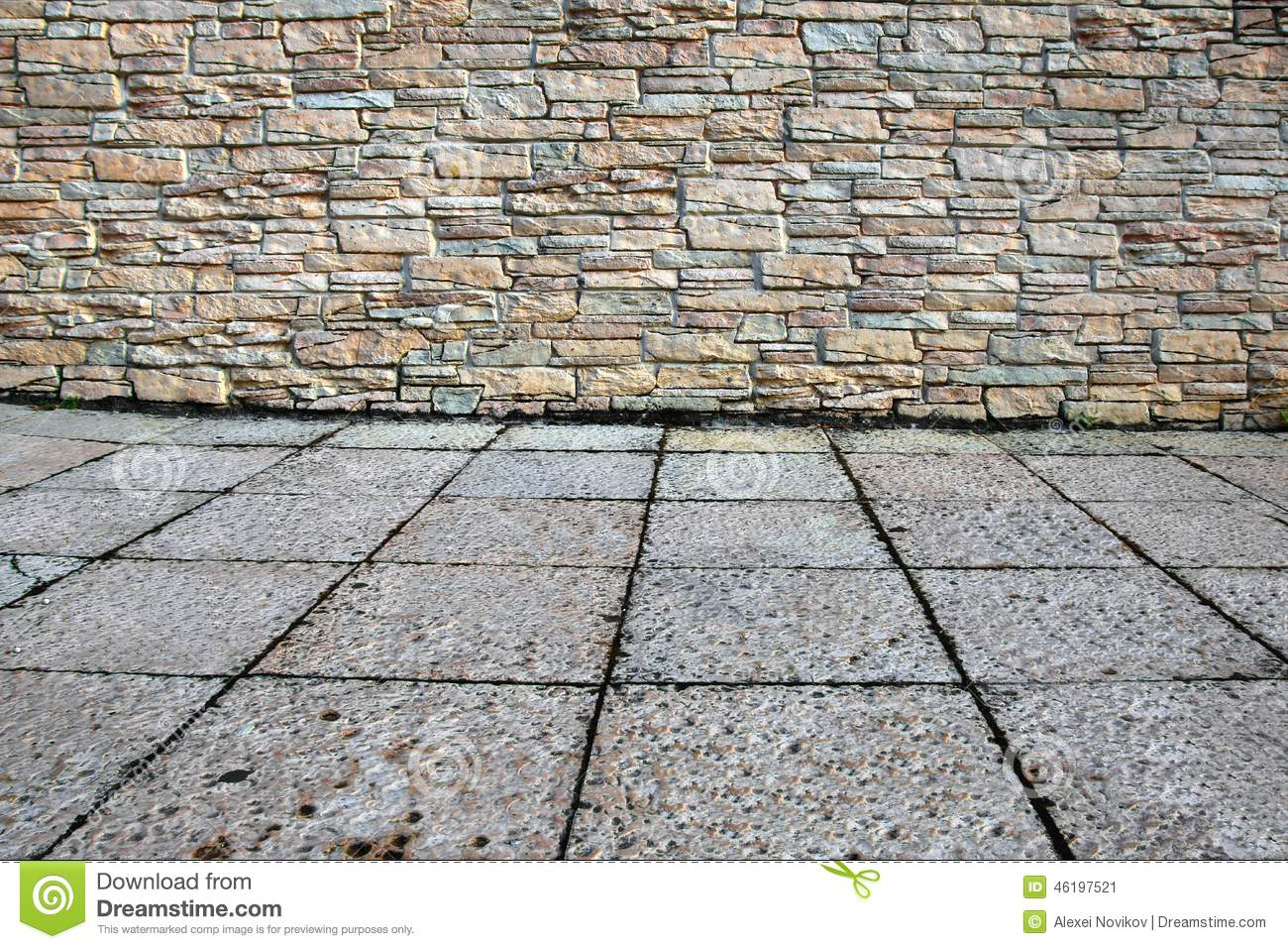 Home exterior with stone wall and floor stock image for Exterior background