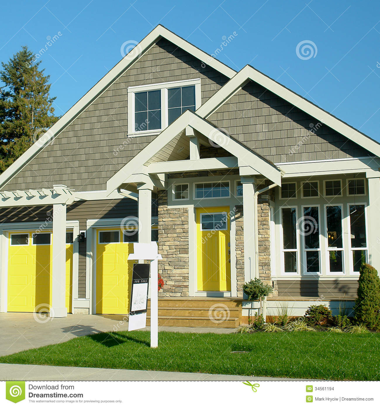 Home exterior with yellow doors stock images image 34561194 for House entry doors sale