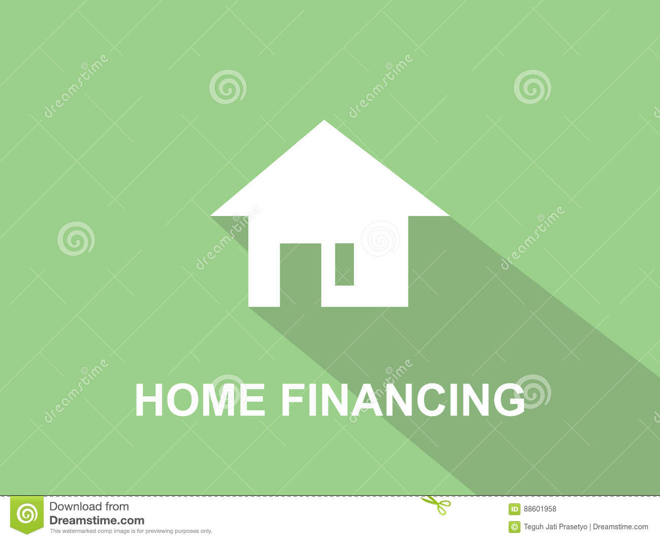 home financing white text illustration with white house silhouette