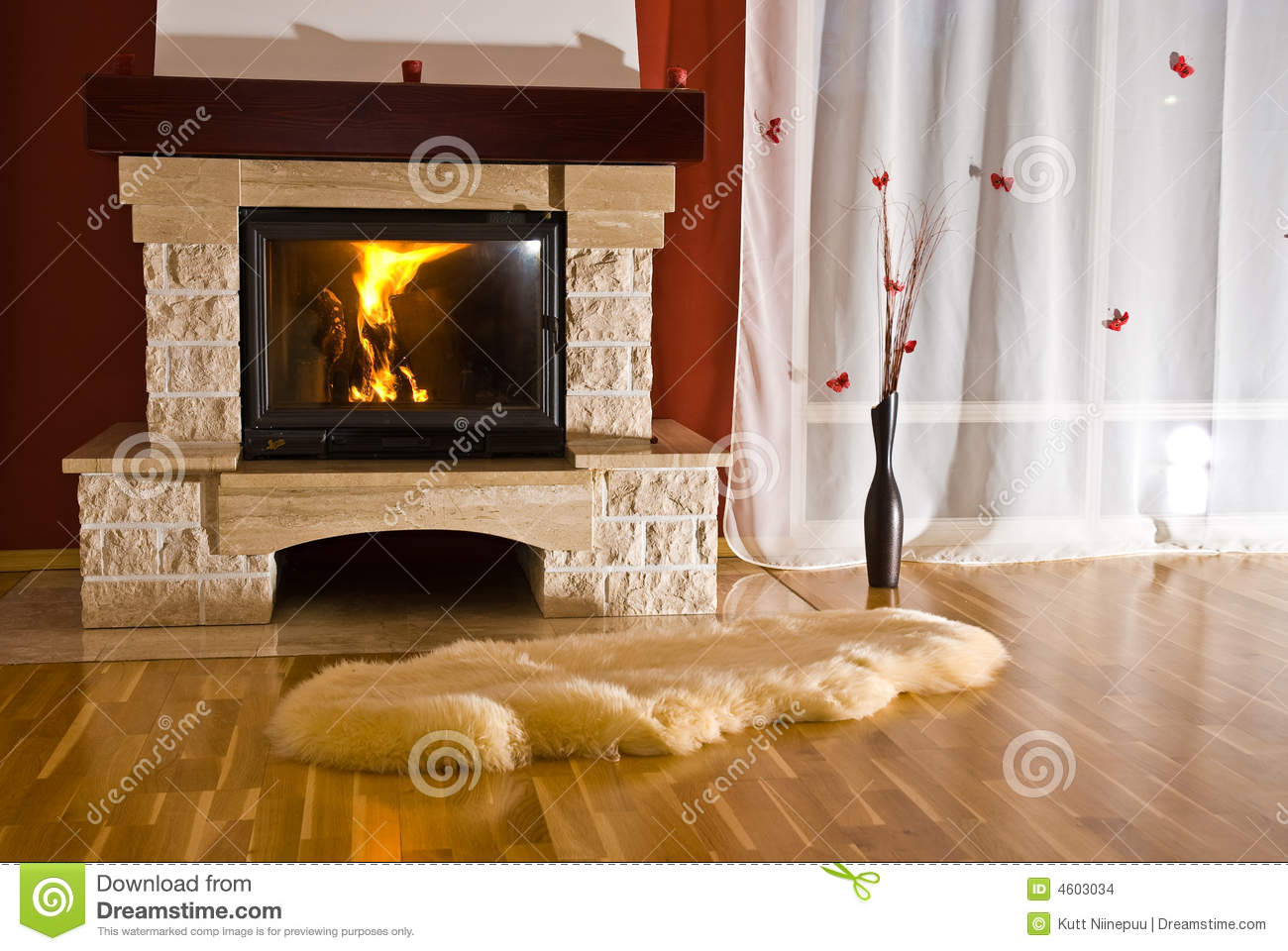 Home Fireplace And Rug Stock Images Image 4603034