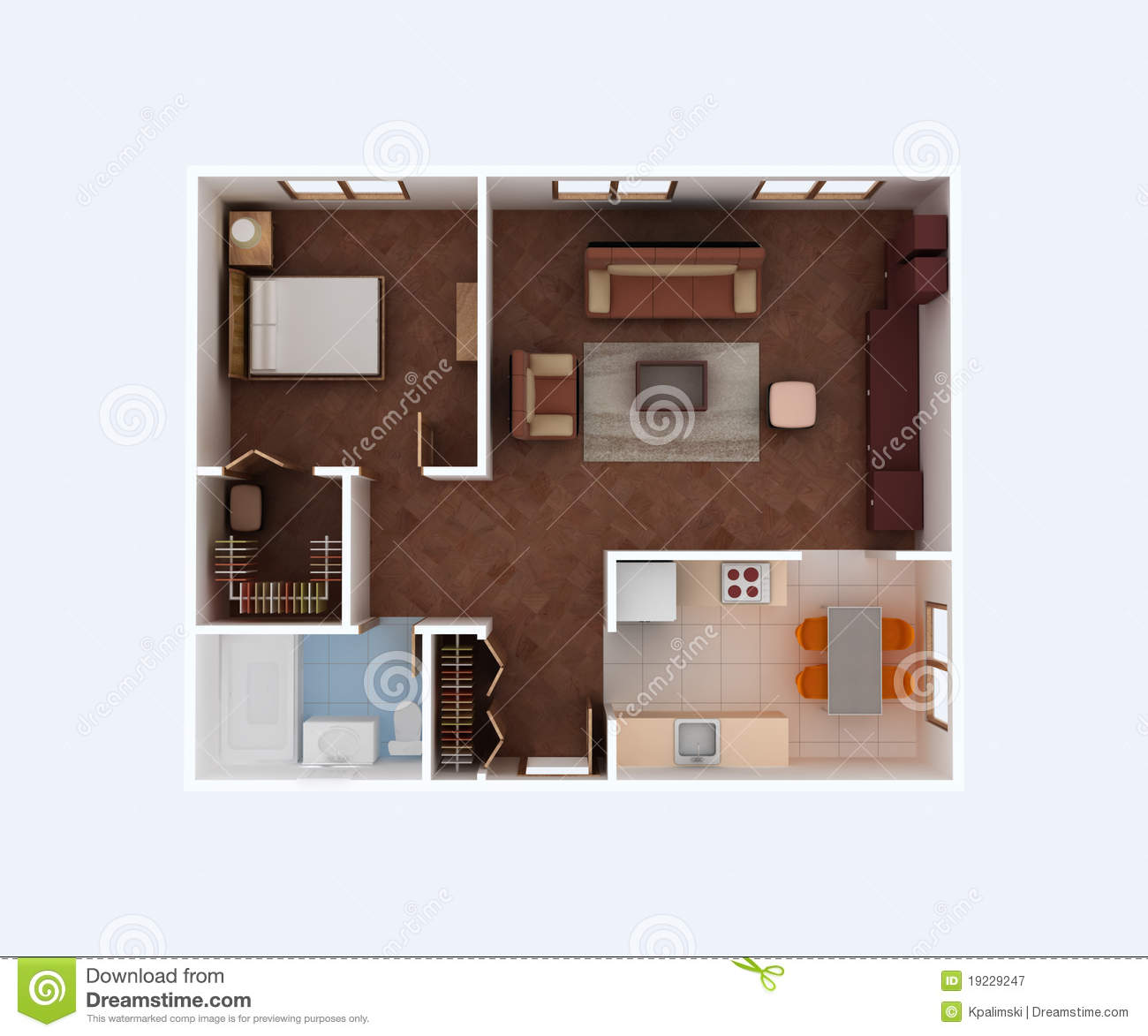 Home Floor Plan. Housing Project 3d Blueprint. Stock