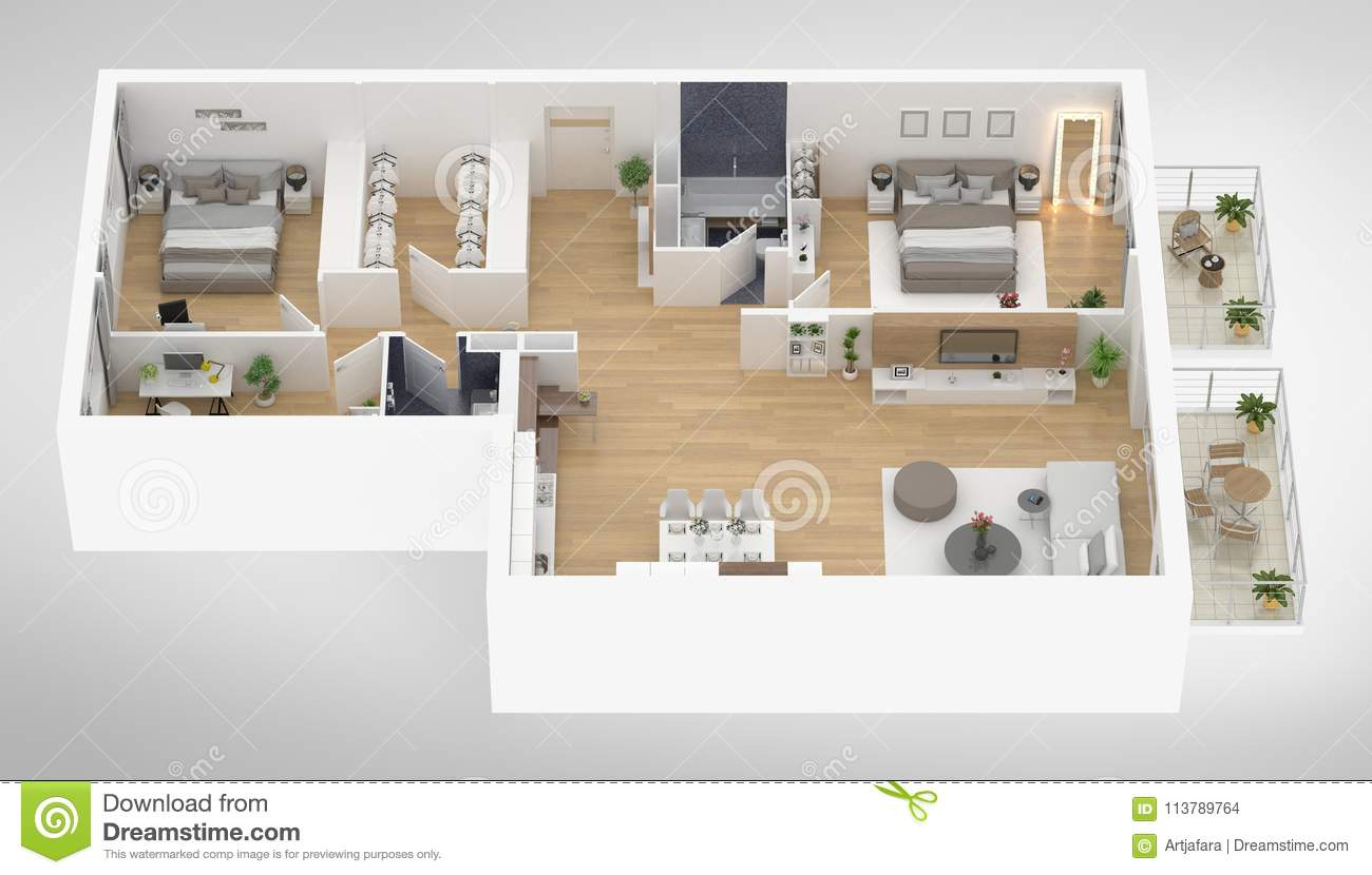 Home Floor Plan Top View 3d Illustration Stock Illustration