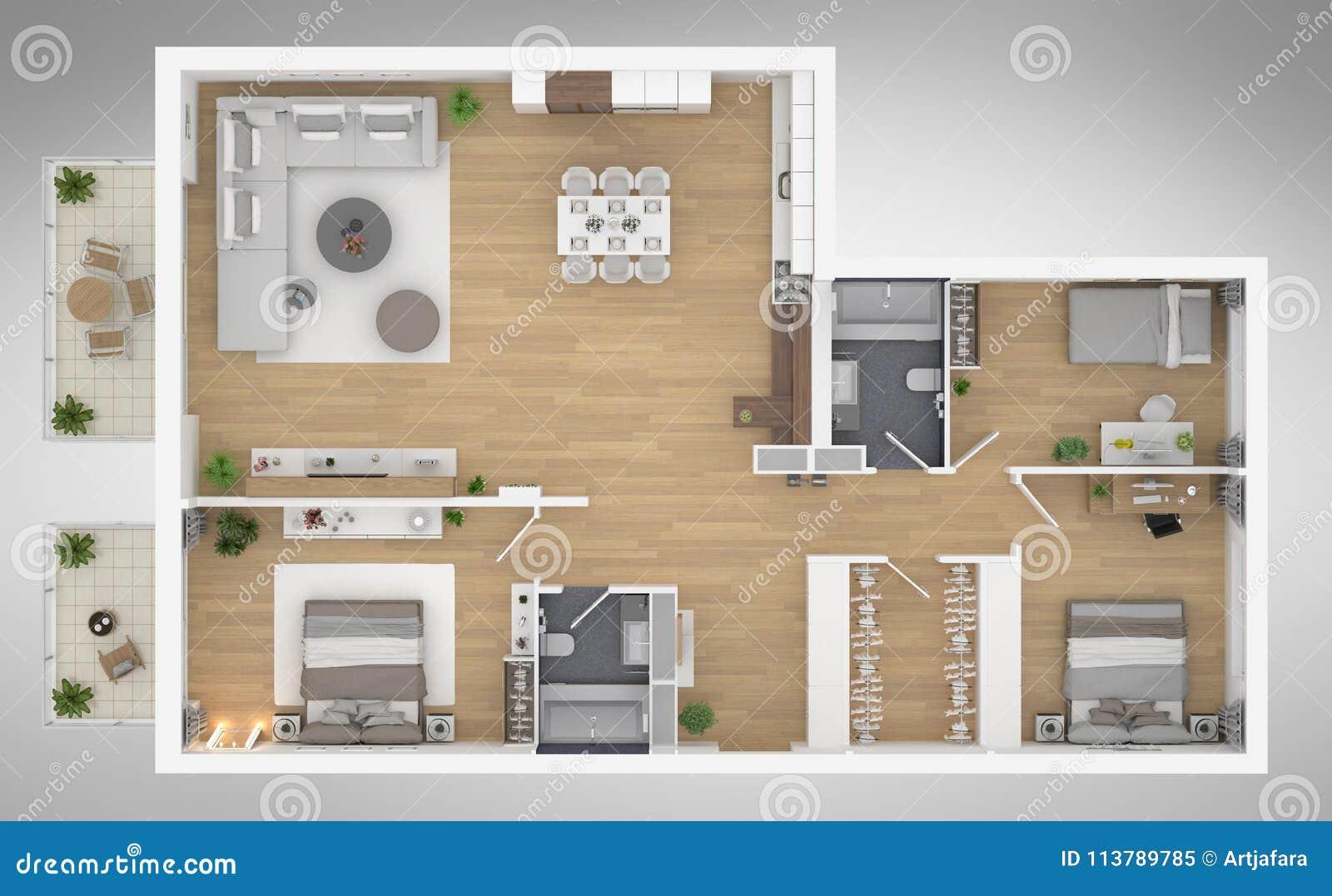Home floor plan top view 3D illustration