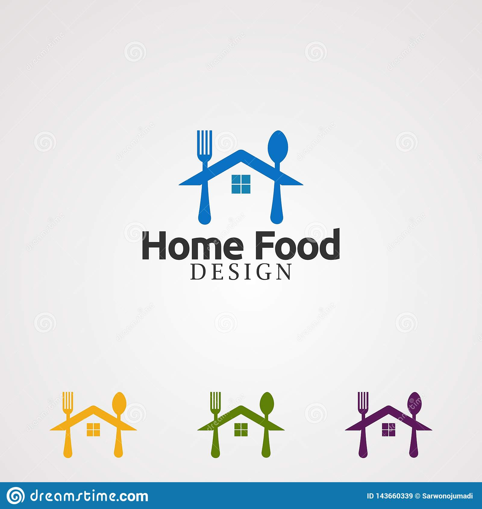 Home Food With Spoon And Fork Logo Vector Concept Icon Element And Template For Company Stock Vector Illustration Of Cafe Concept 143660339