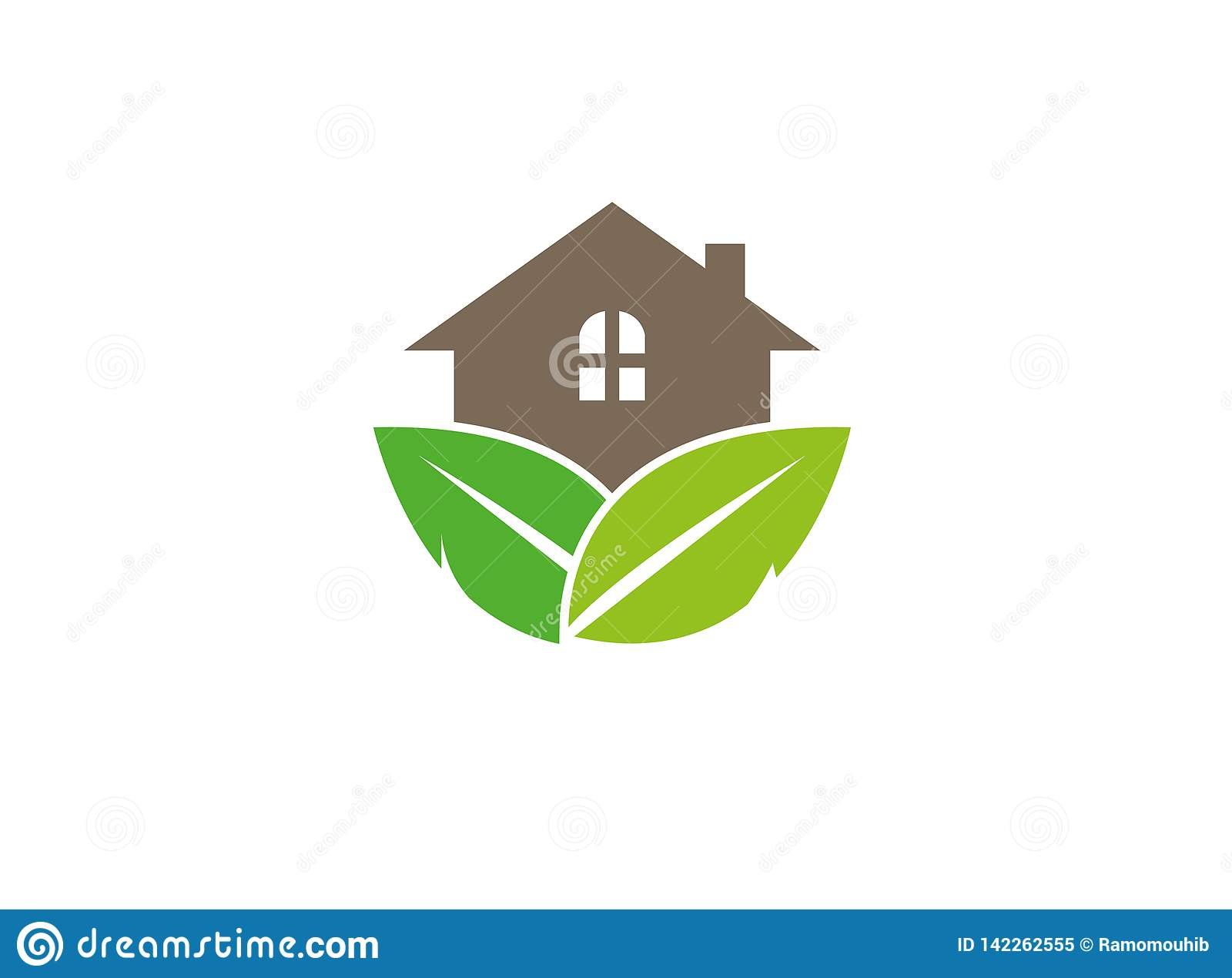 Home for forest with leaves and House Plant for logo Design