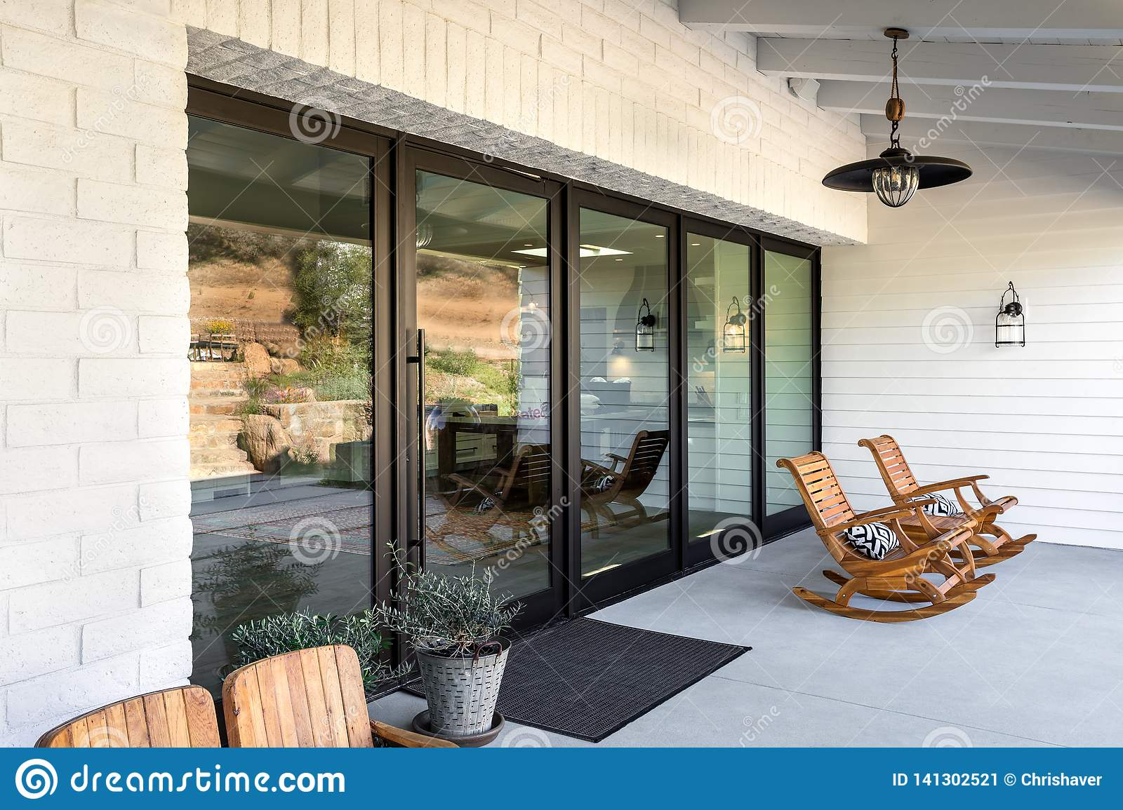 Super Home Front Porch With Wooden Rocking Chairs Editorial Photo Bralicious Painted Fabric Chair Ideas Braliciousco