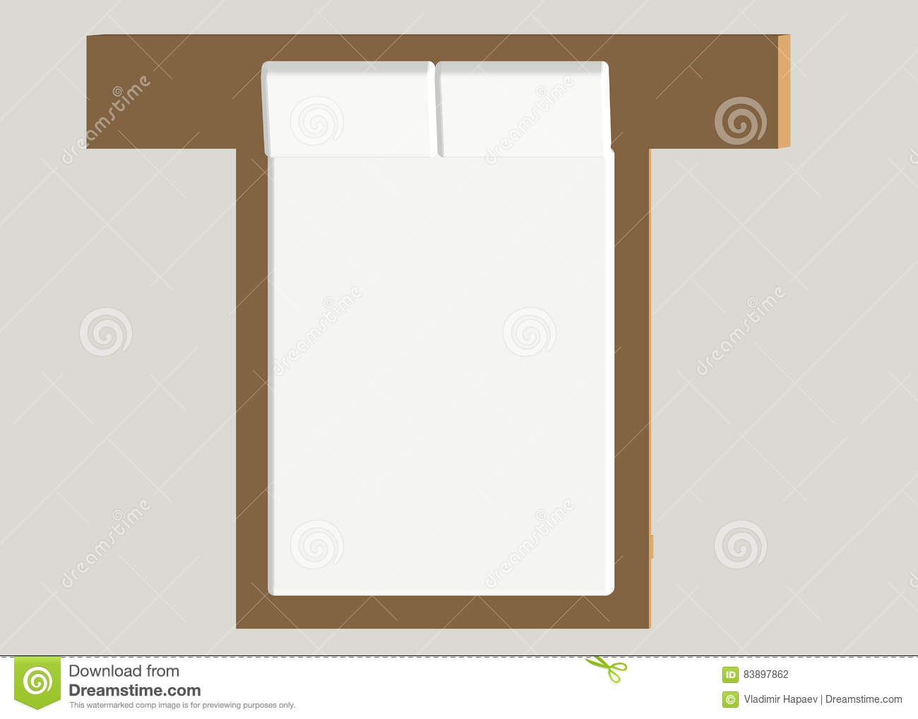 Home Furniture Bed Interior Element Bedroom Vector Illustration