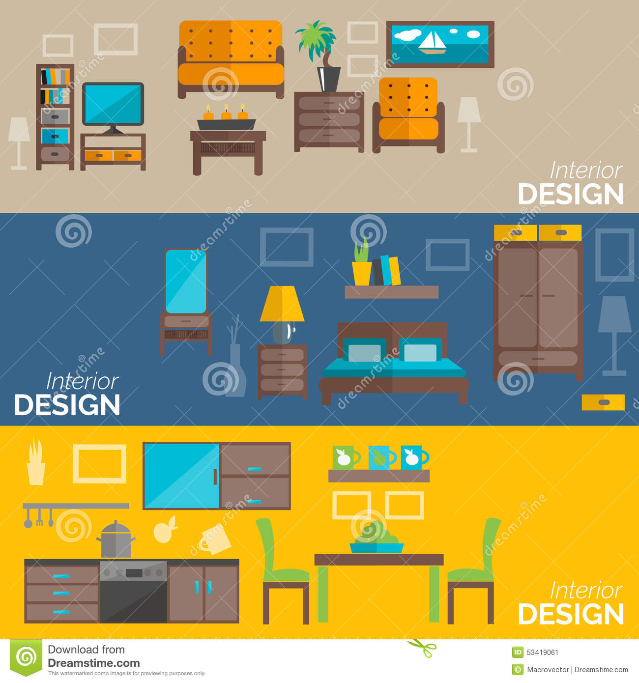 Home appliances icons in flat design set 3 cartoon vector for Kitchen design vector