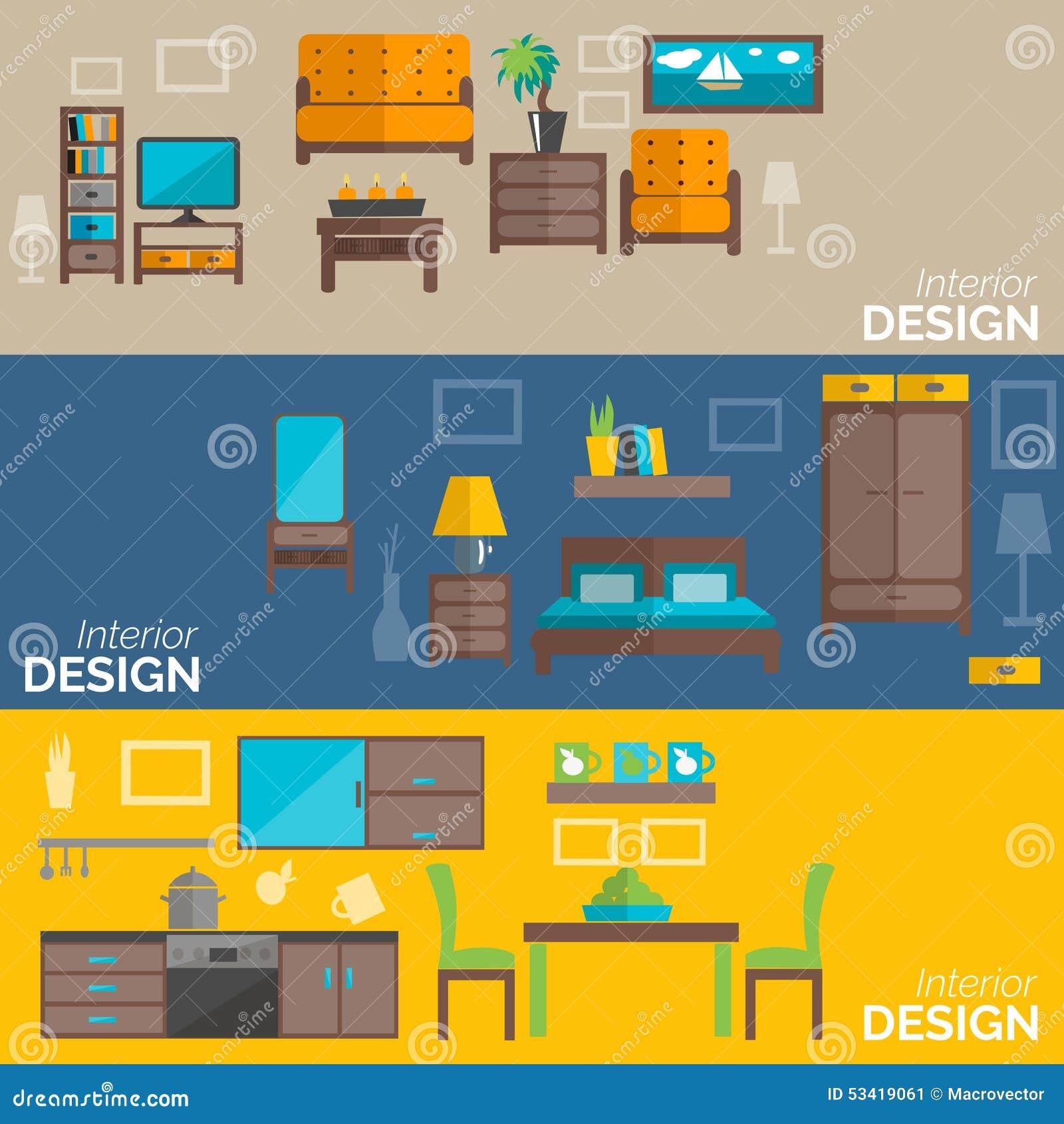 Home furniture design flat banners set stock vector for Interior design banner images