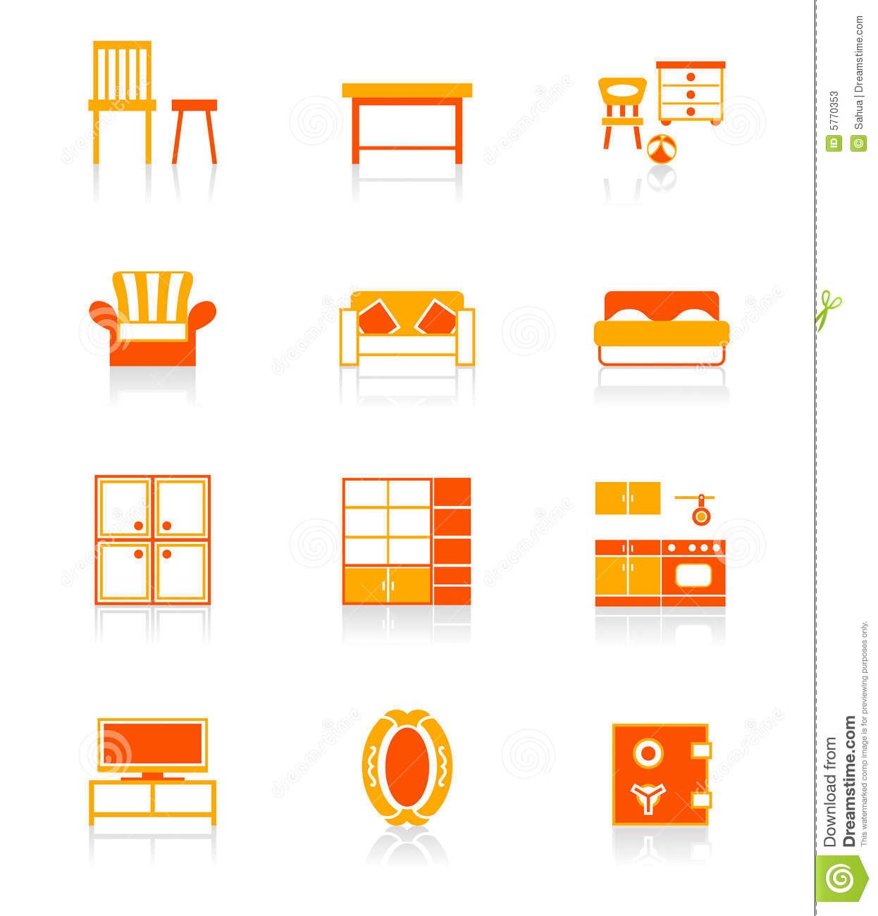 Home Furniture Icons JUICY Series Stock Photos Image