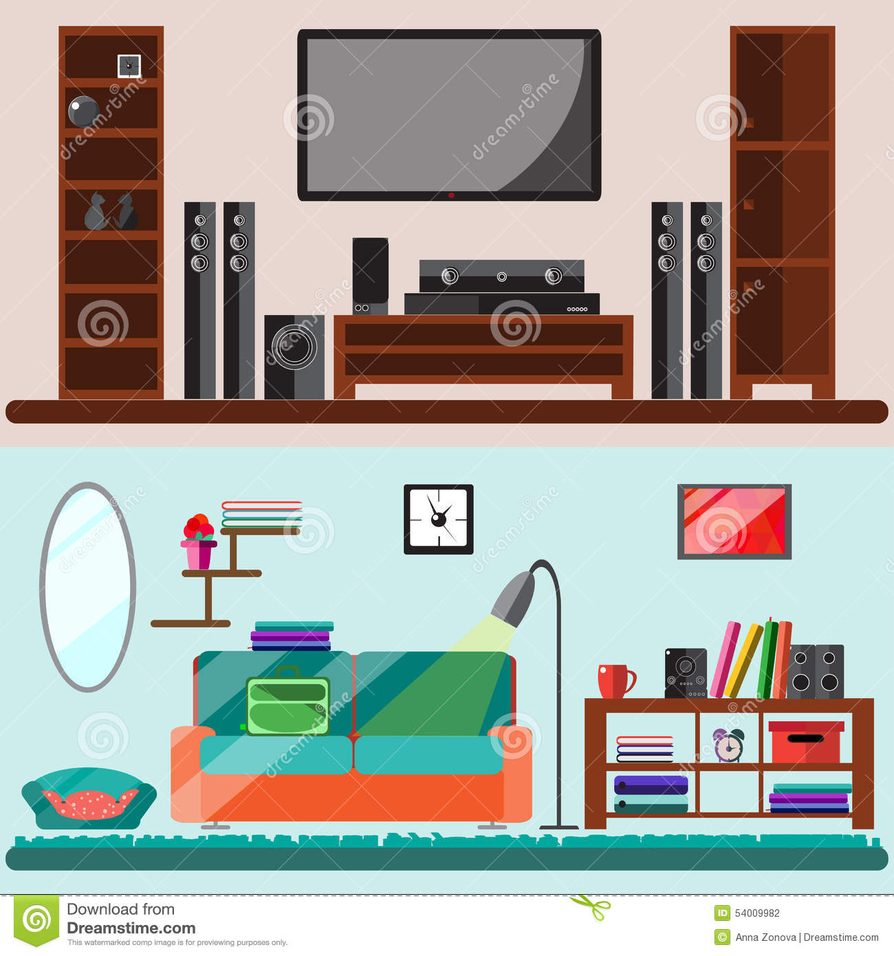 Home furniture vector flat illustration stock vector for Interior design images vector