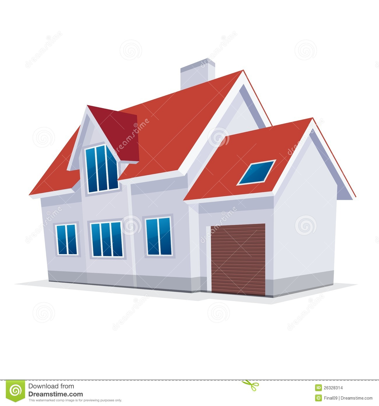Home With Garage Vector Illustration Icon Stock Images