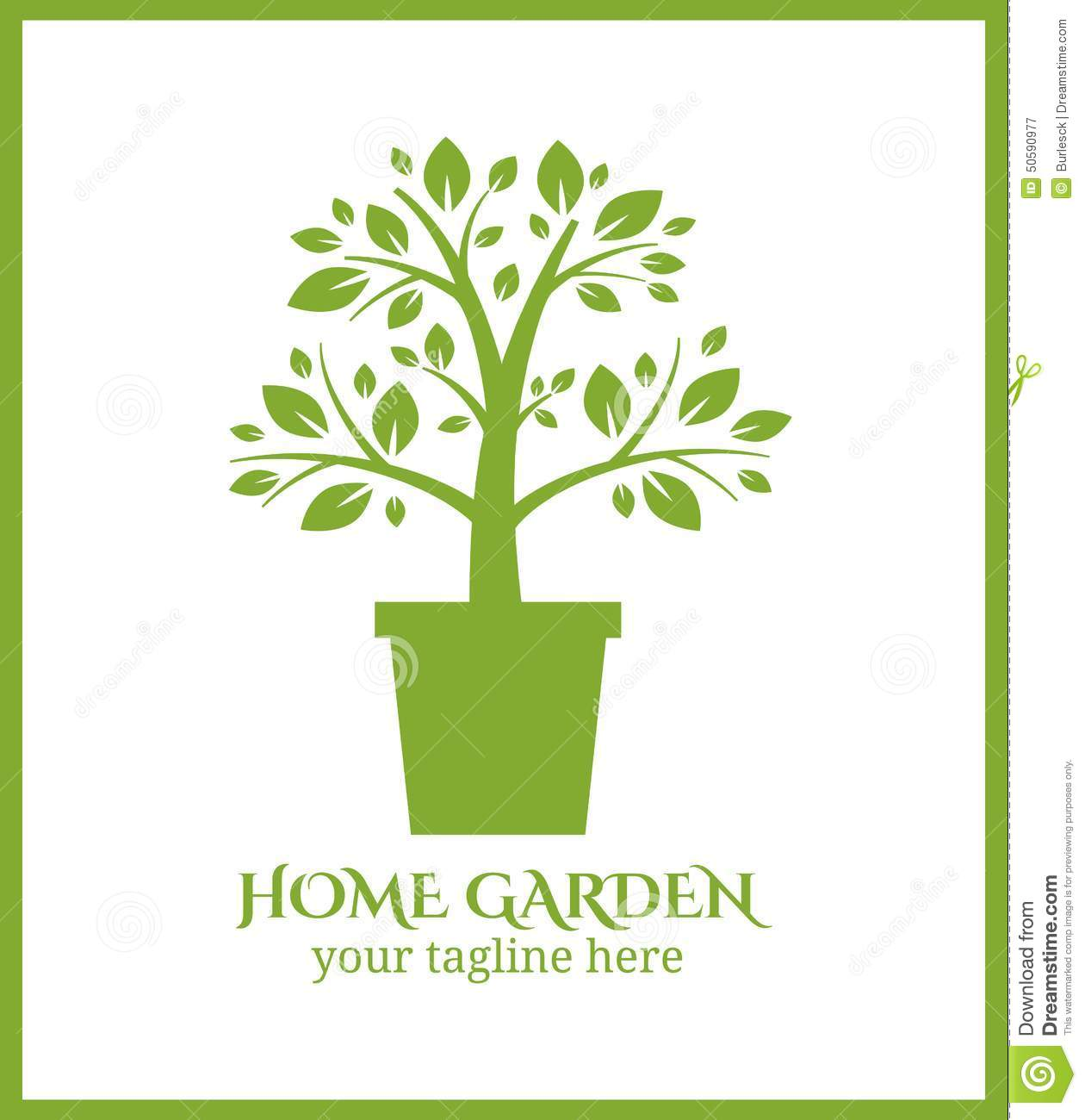 Home garden label tree in pot logo stock vector image Homes and gardens logo