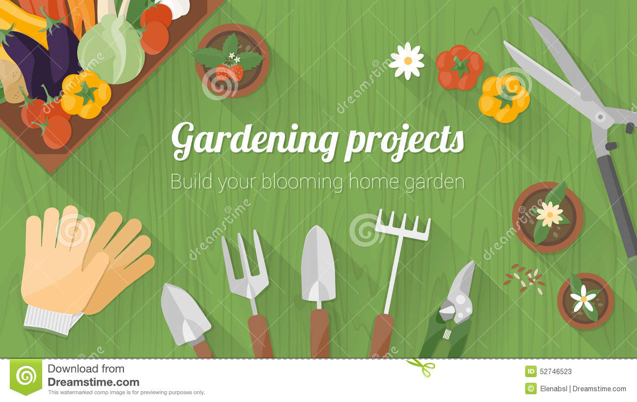 Home Gardening Banner Stock Vector Illustration Of Copy