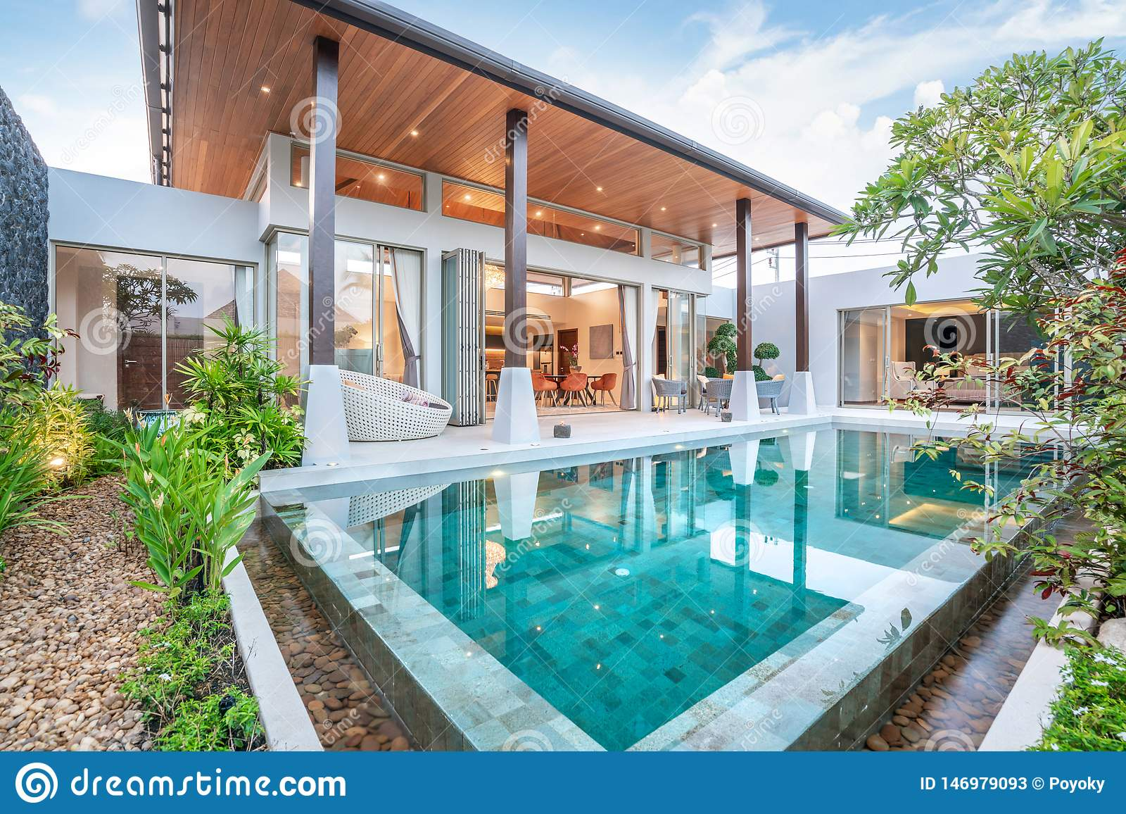 Home Or House Building Exterior And Interior Design Showing Tropical Pool Villa With Green Garden Stock Image Image Of Home Exterior 146979093