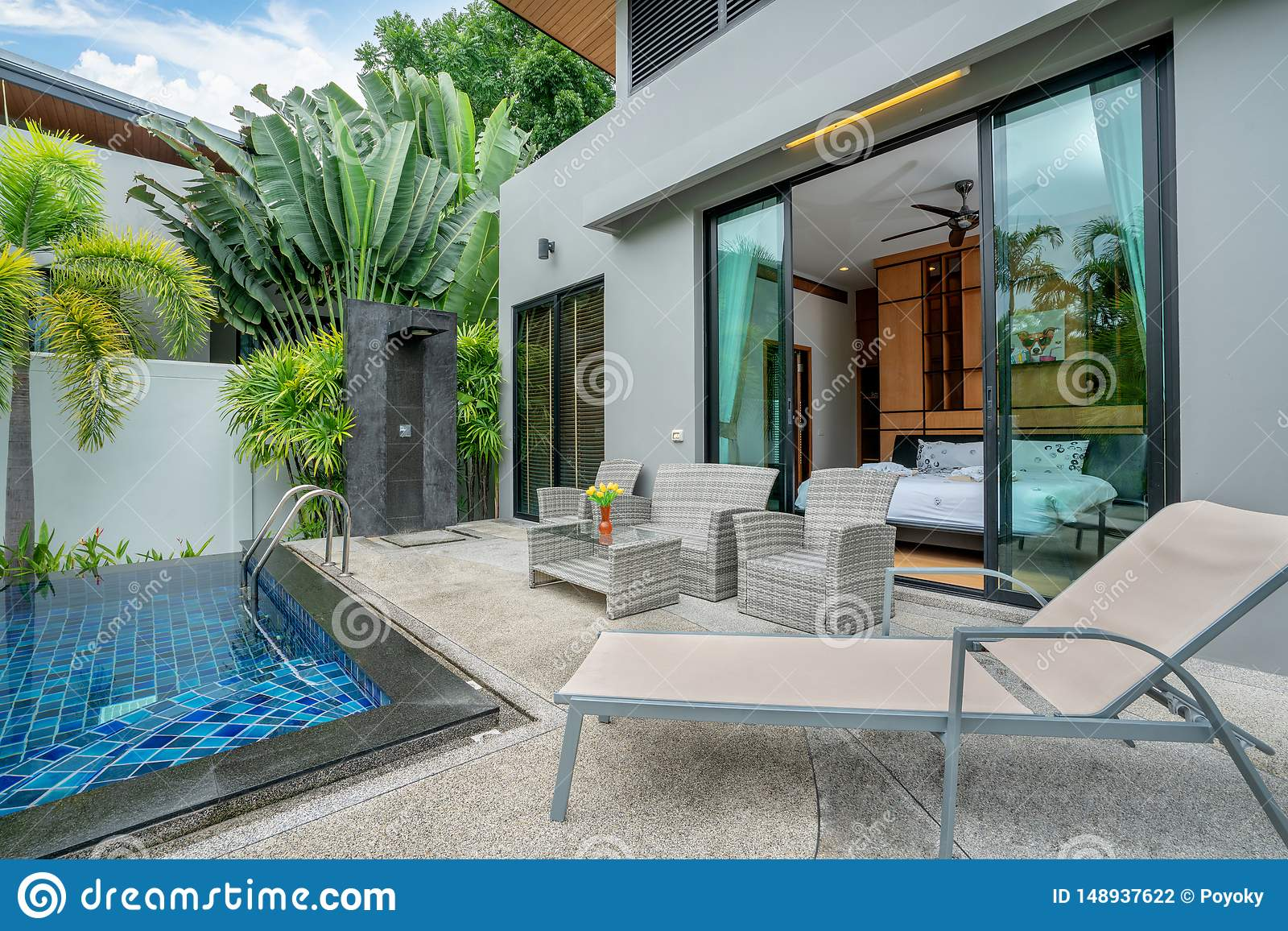 Home Or House Building Exterior And Interior Design Showing Tropical Pool Villa With Green Garden Stock Photo Image Of Beautiful Living 148937622