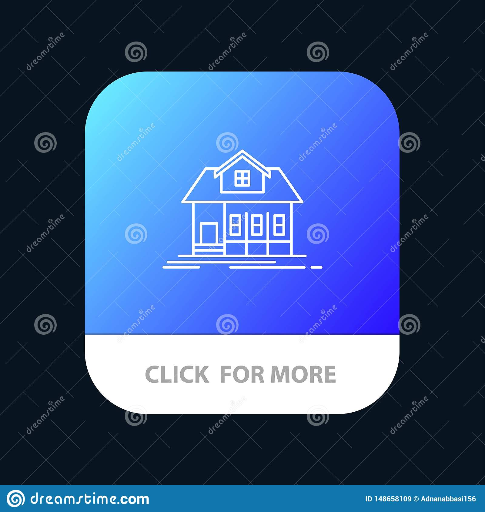 Home, House, Building, Real Estate Mobile App Button. Android and IOS Line Version