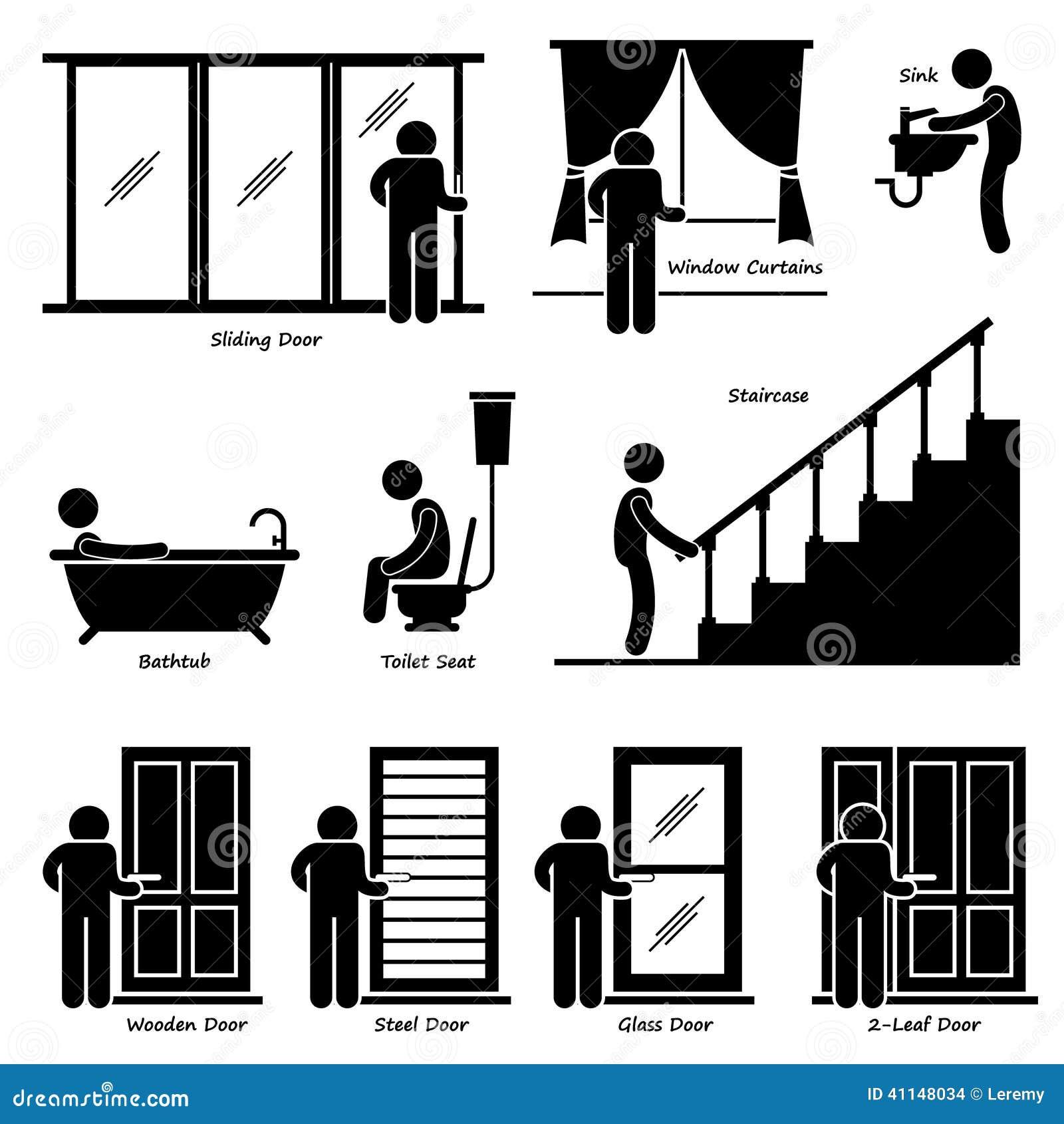 ... bathtub, toilet seat, staircases, wooden door, steel door, glass door