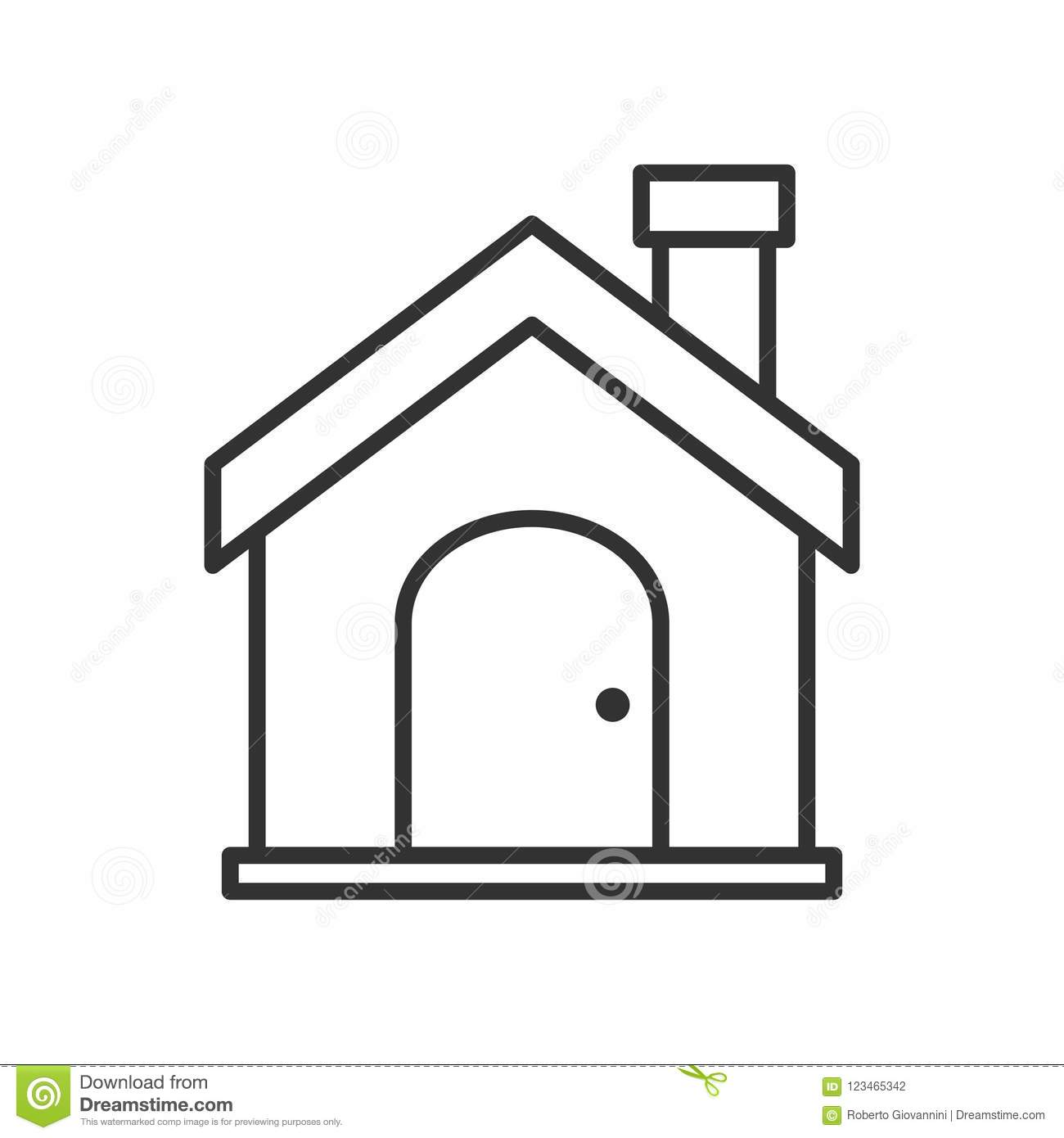Home or House Outline Flat Icon on White