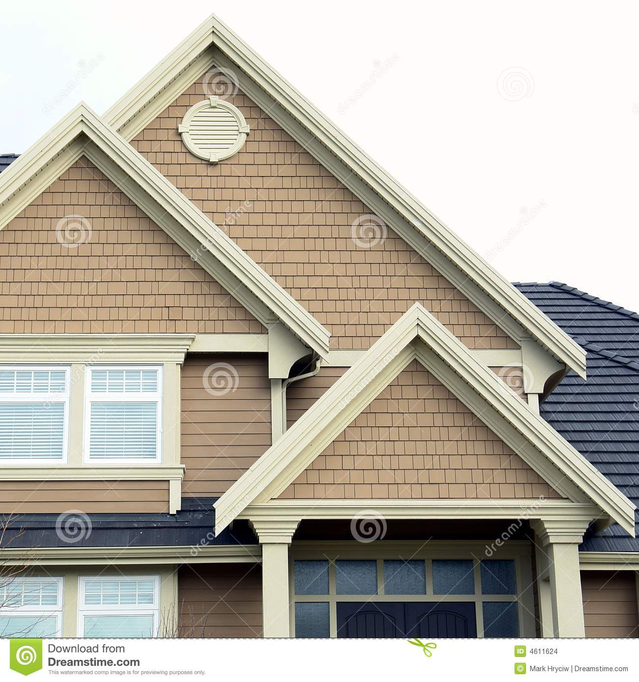 Home house roof siding peaks stock images image 4611624 for Roof peak decorations