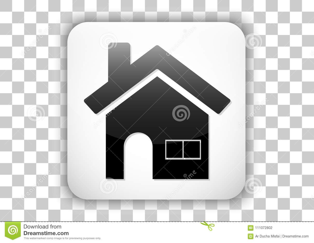 Home Icon Button Mobile App White Clear Color Stock Vector