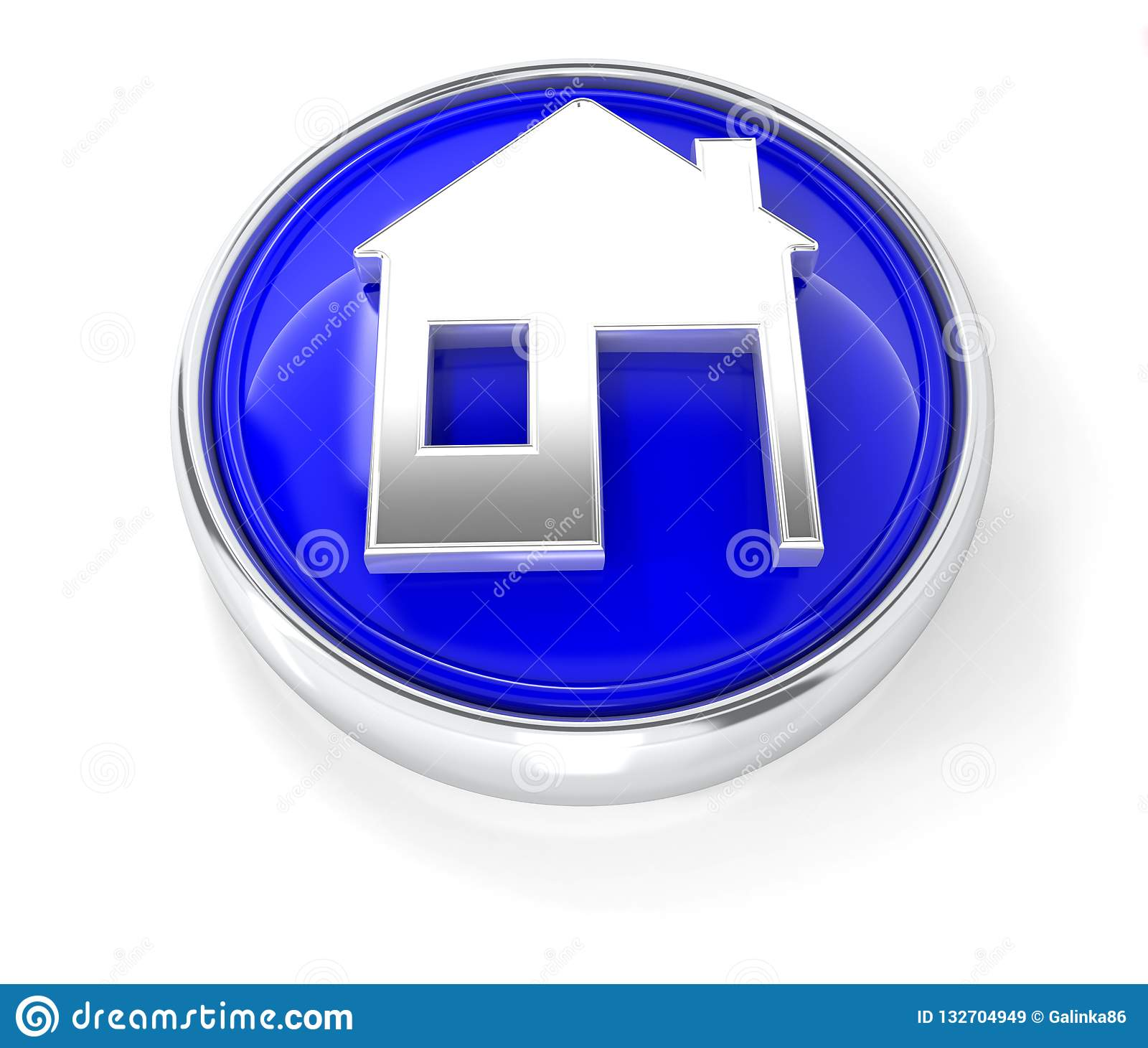 Home icon on glossy blue round button