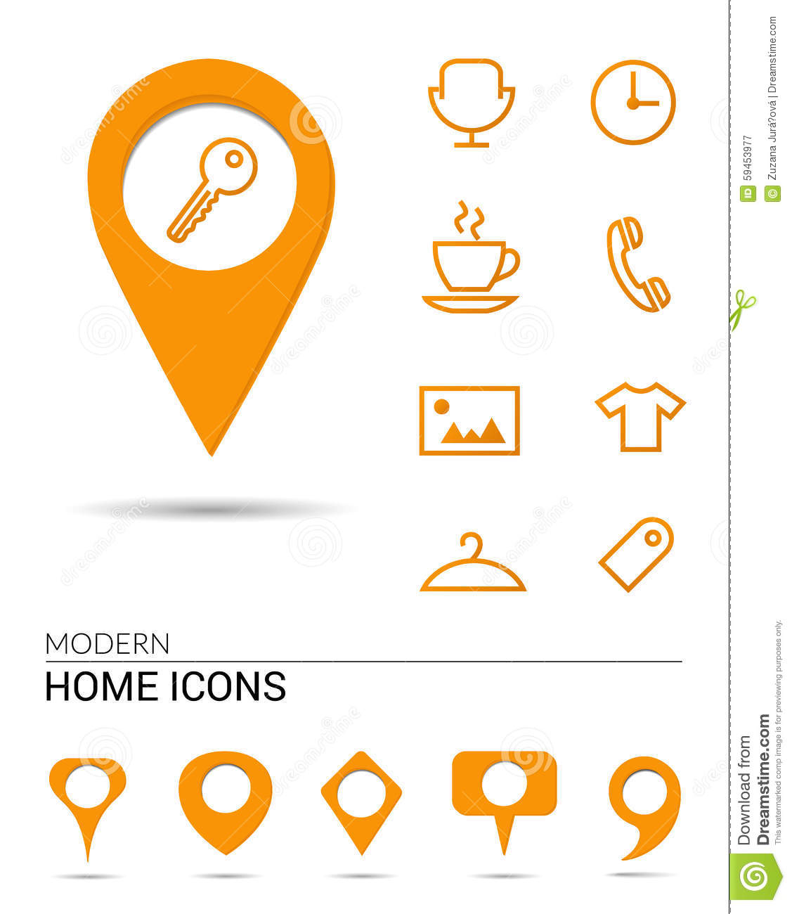 Home icons with pointers stock vector illustration of for Different shapes of houses