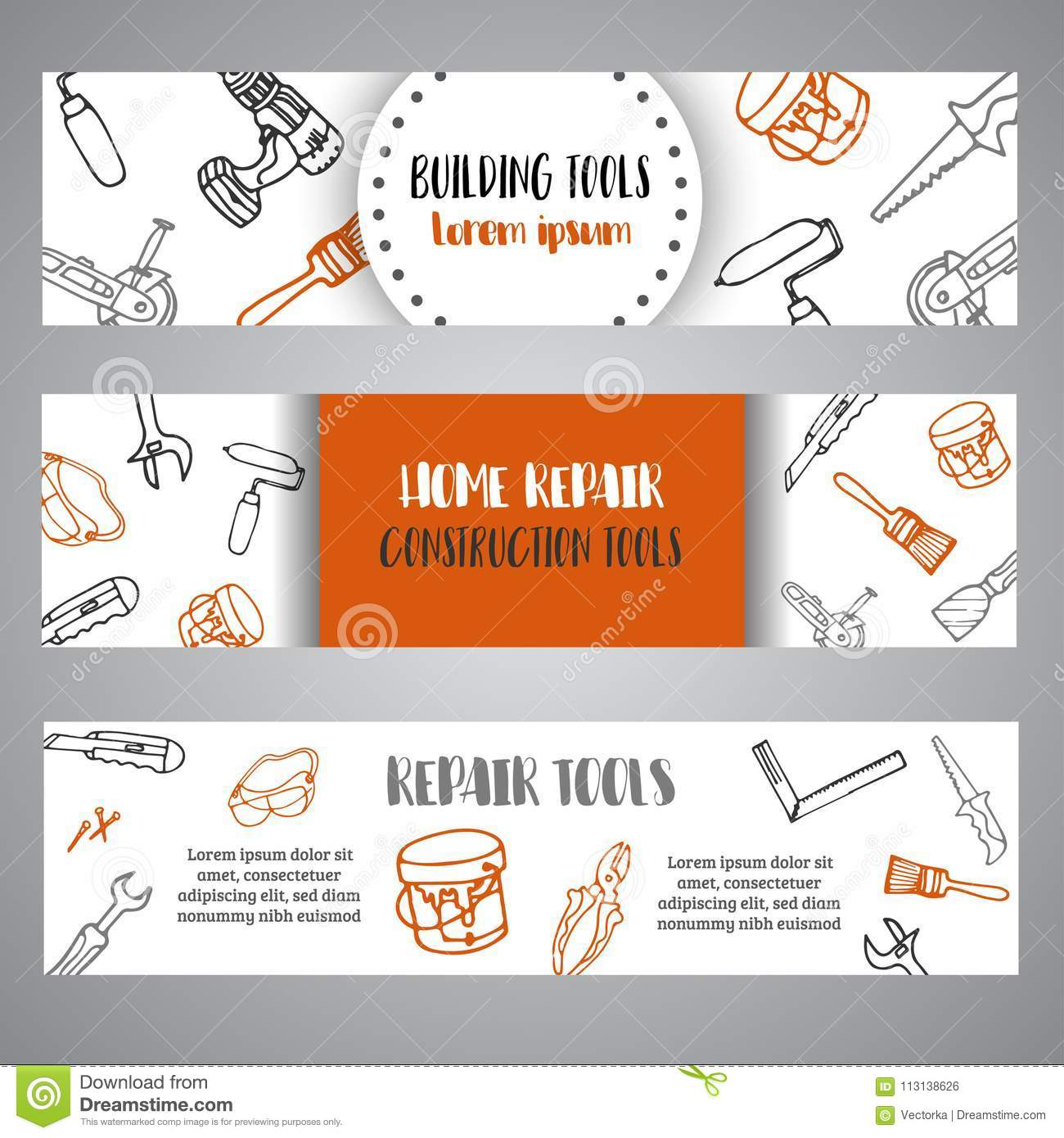 Home Improvement Construction Tools Hand Drawn Brochure. Bussiness ...
