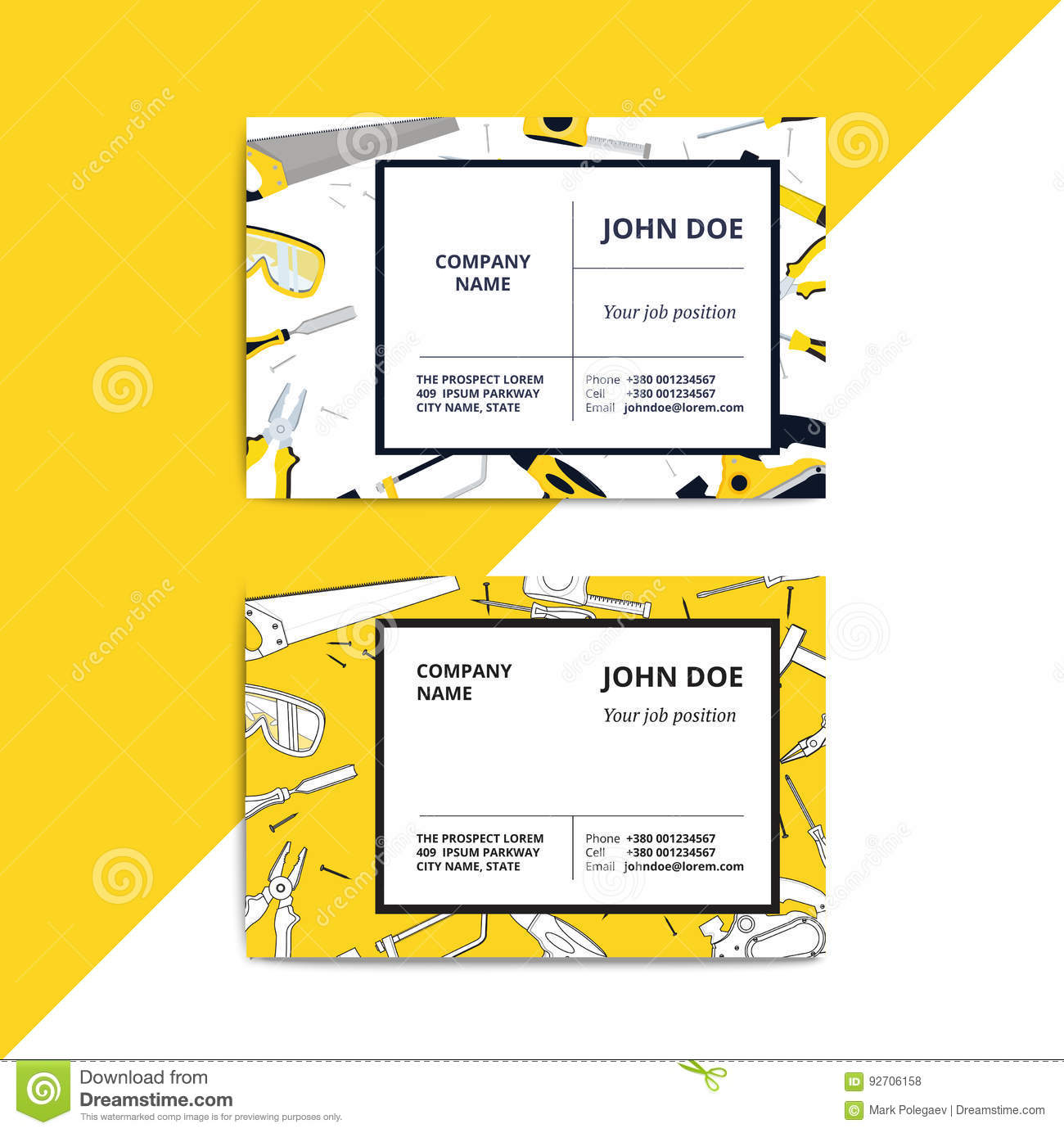 Home improvement corporate business card with repair tools hous download comp colourmoves