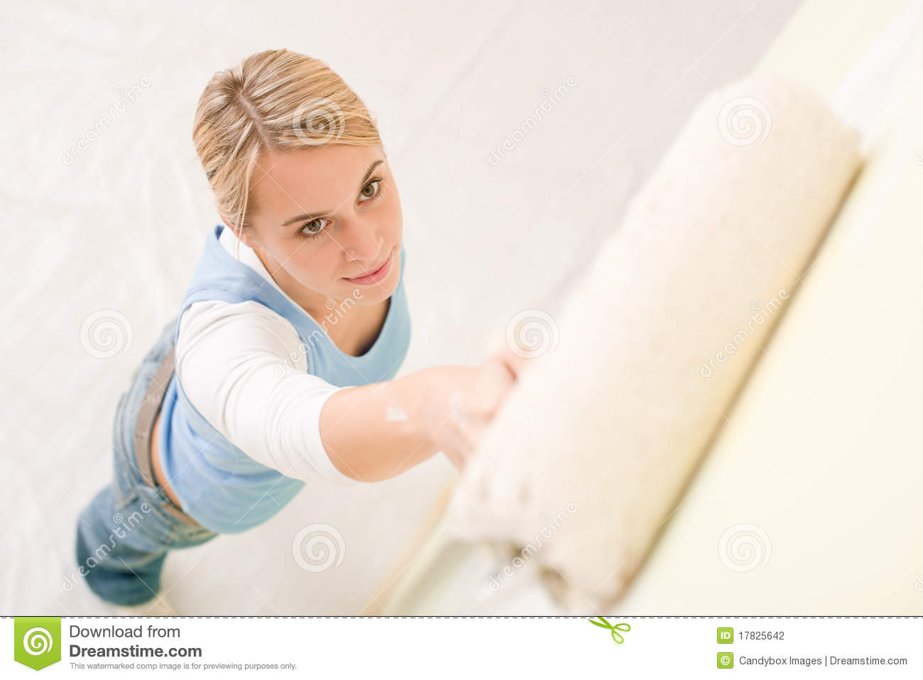 Home Improvement Handywoman Painting Wall Stock